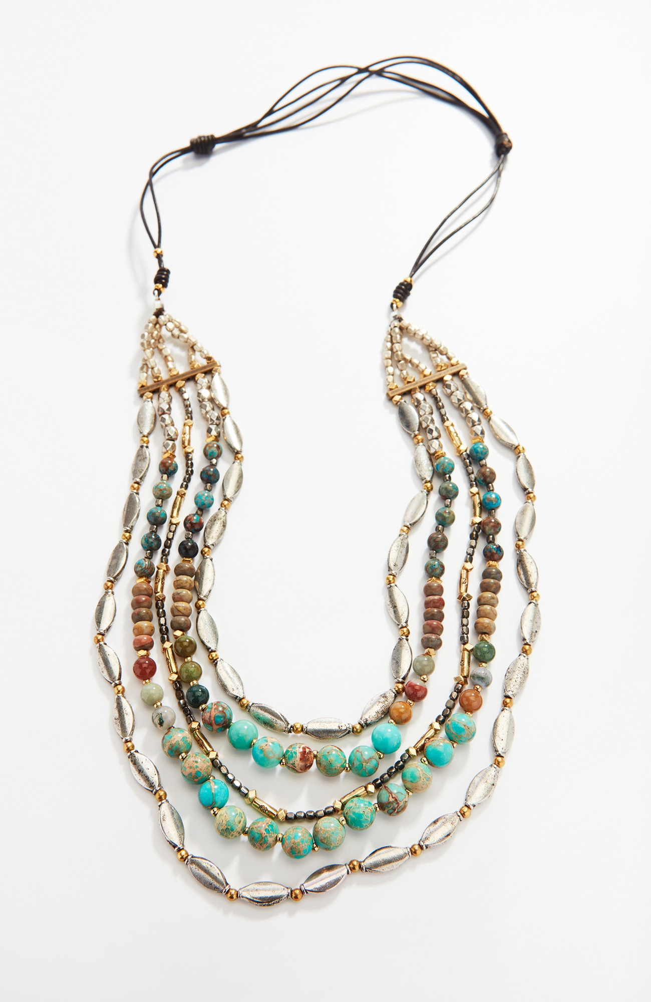 jasper & metal layered necklace