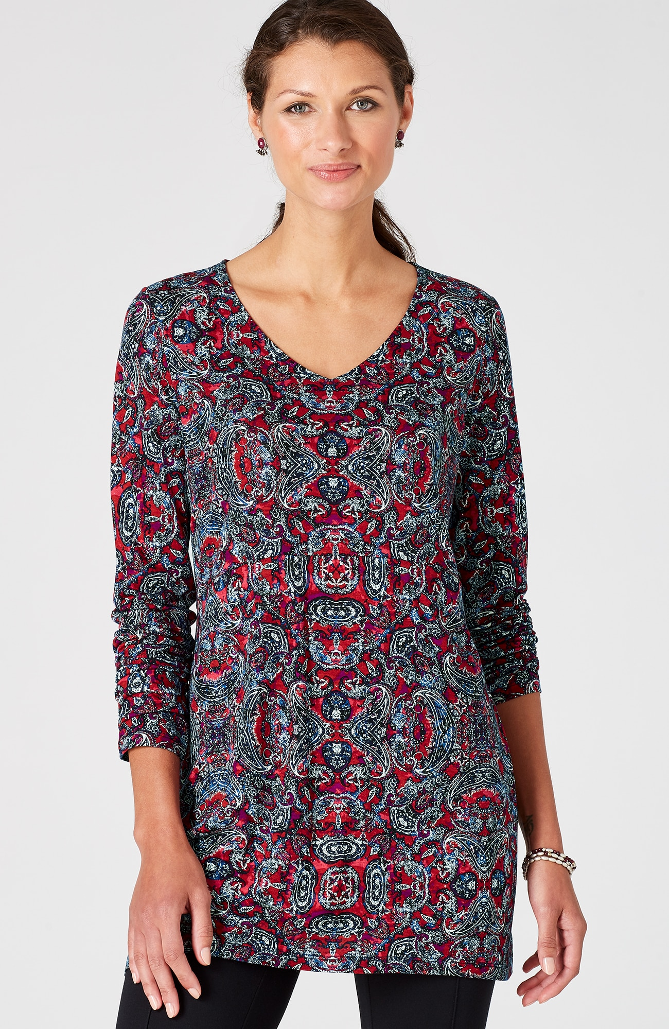 V-neck A-line knit tunic