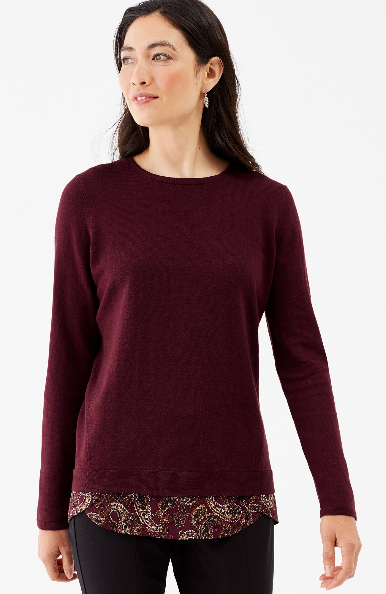mixed-media forward-seam pullover