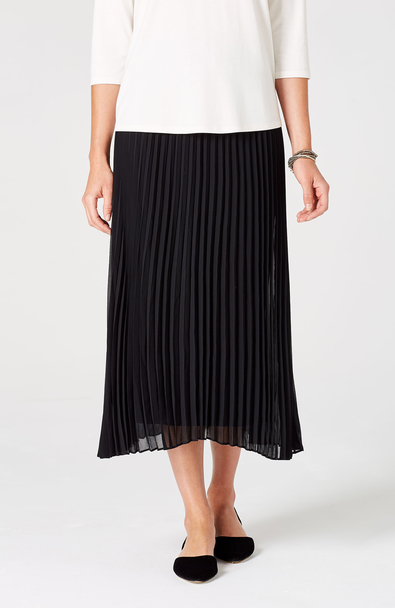 pleated dipped-hem skirt
