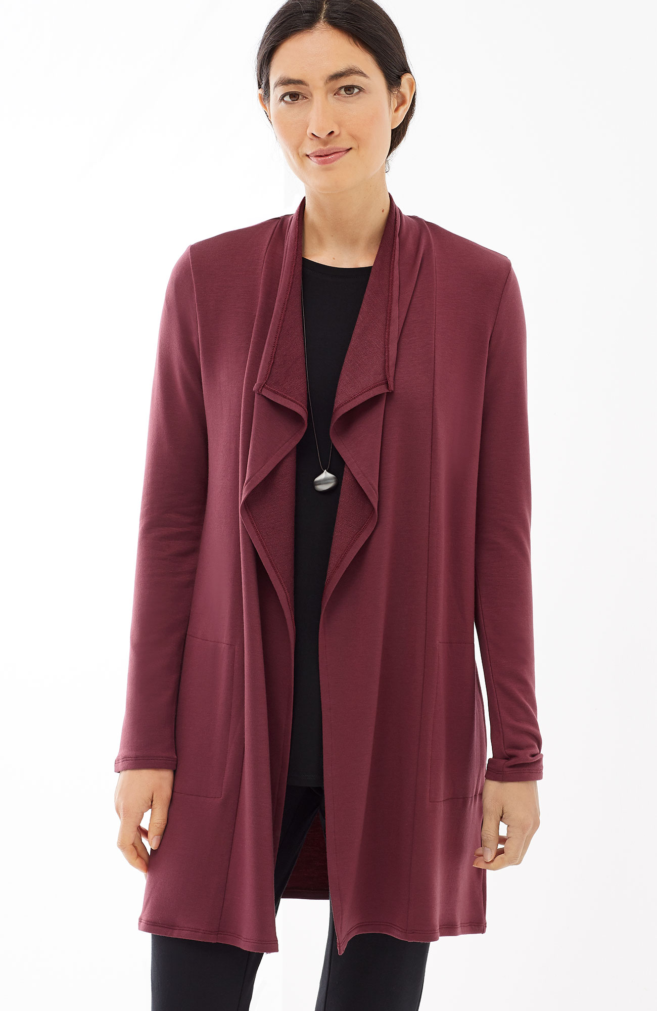 Pure Jill Luxe Tencel® draped-front jacket