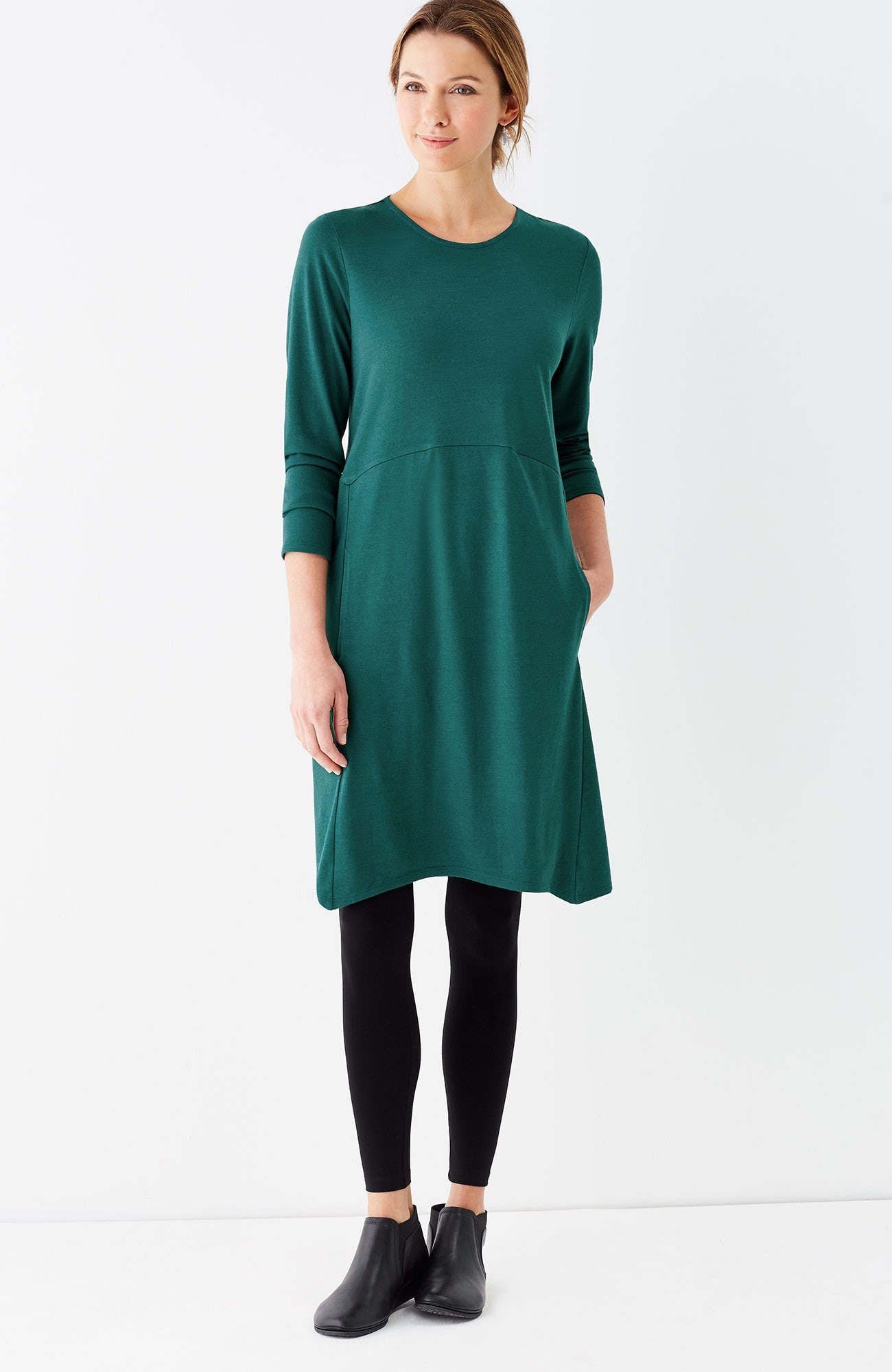 Pure Jill dipped-hem swing dress