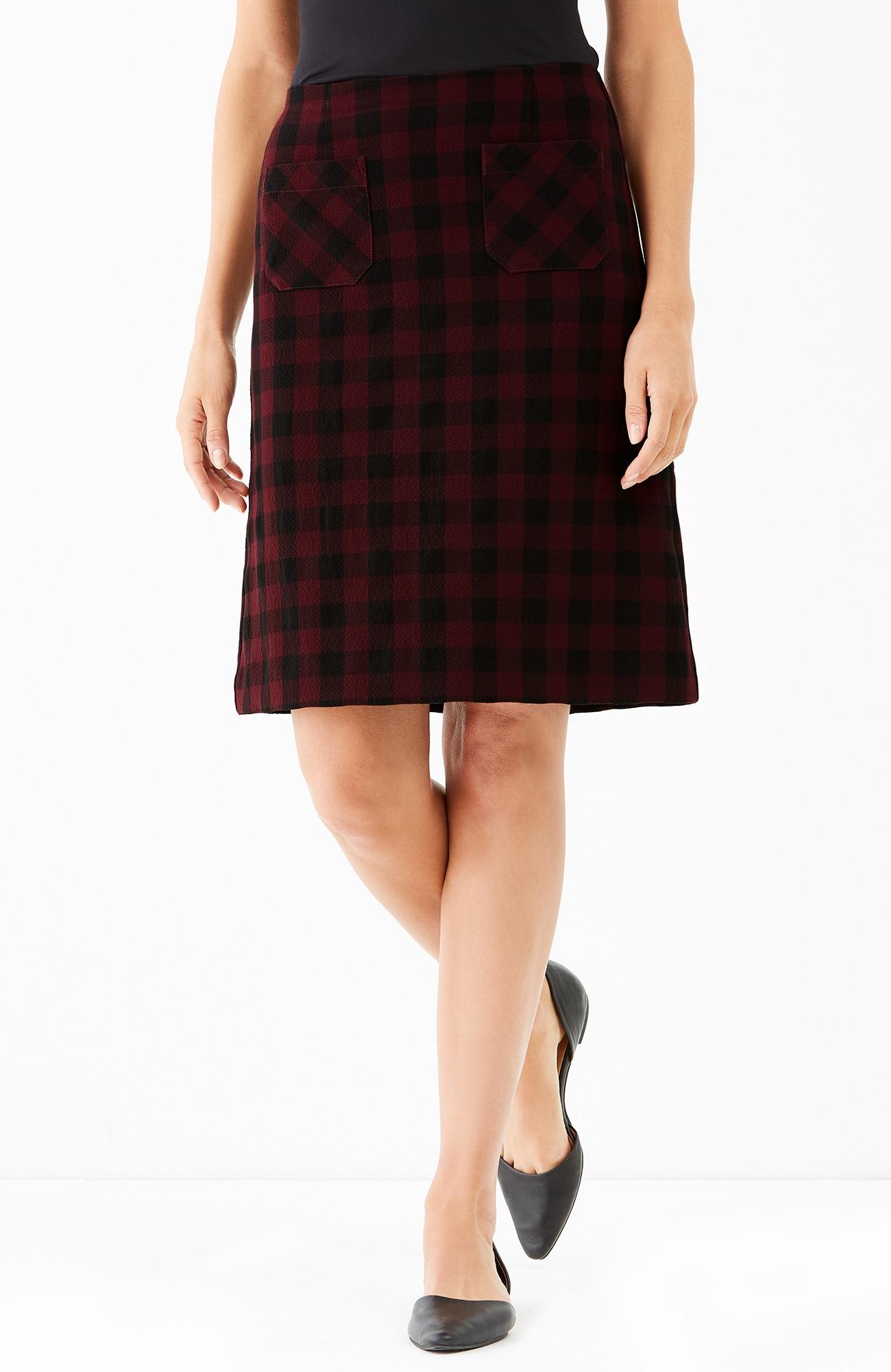 gingham A-line skirt