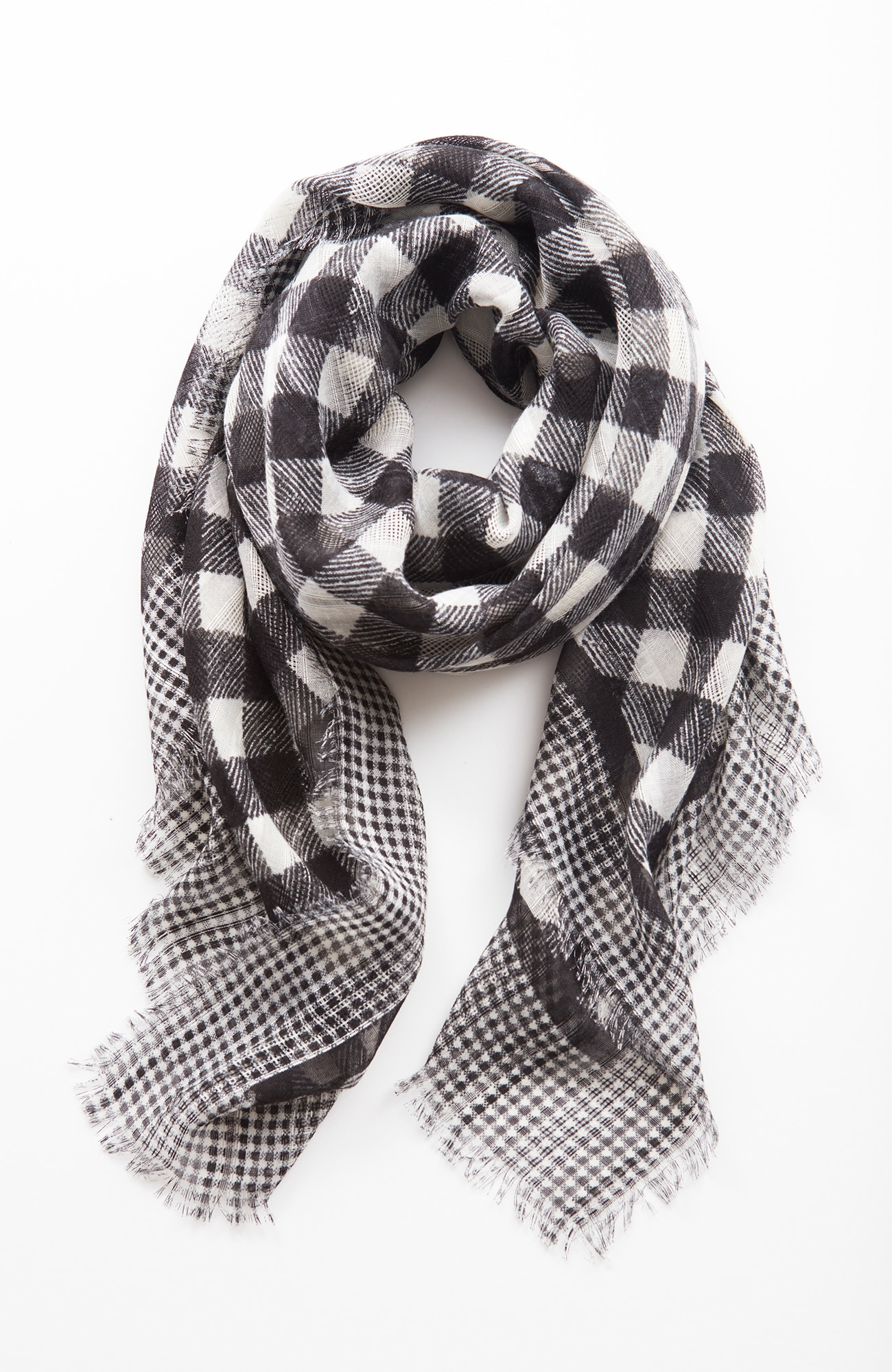 mixed-gingham square scarf