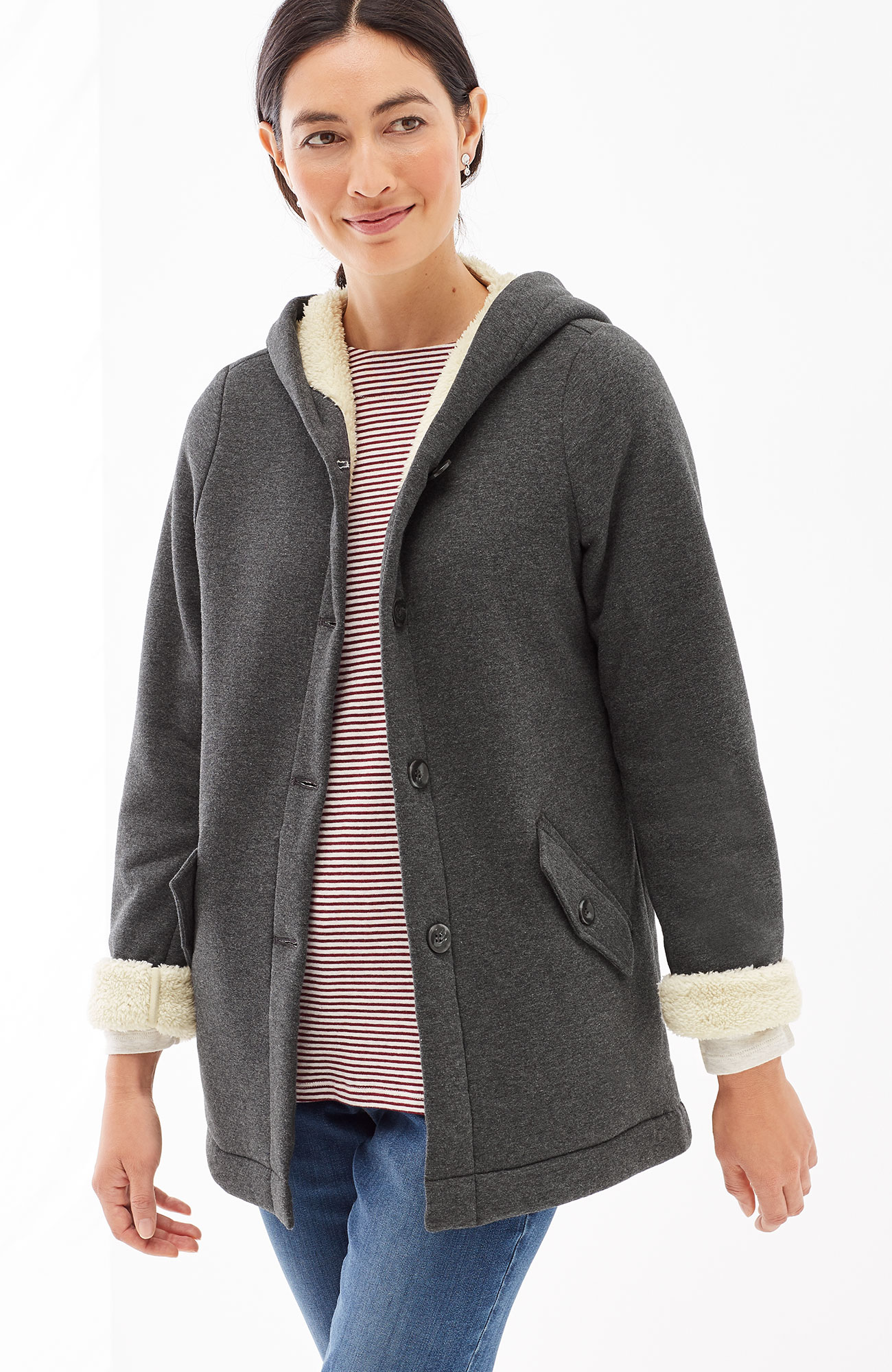 plush-lined knit jacket