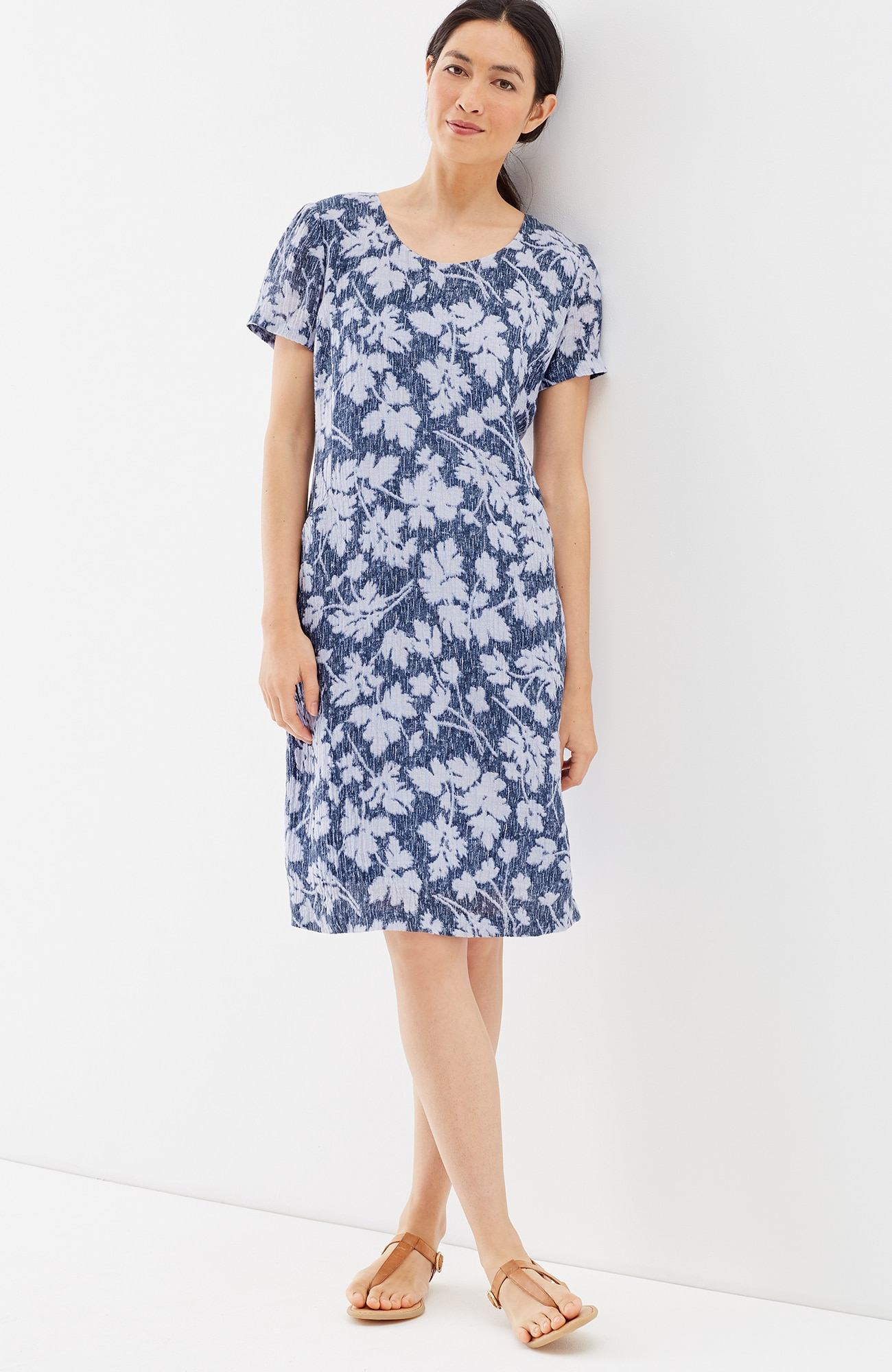 Pure Jill crinkled-linen scoop-neck dress