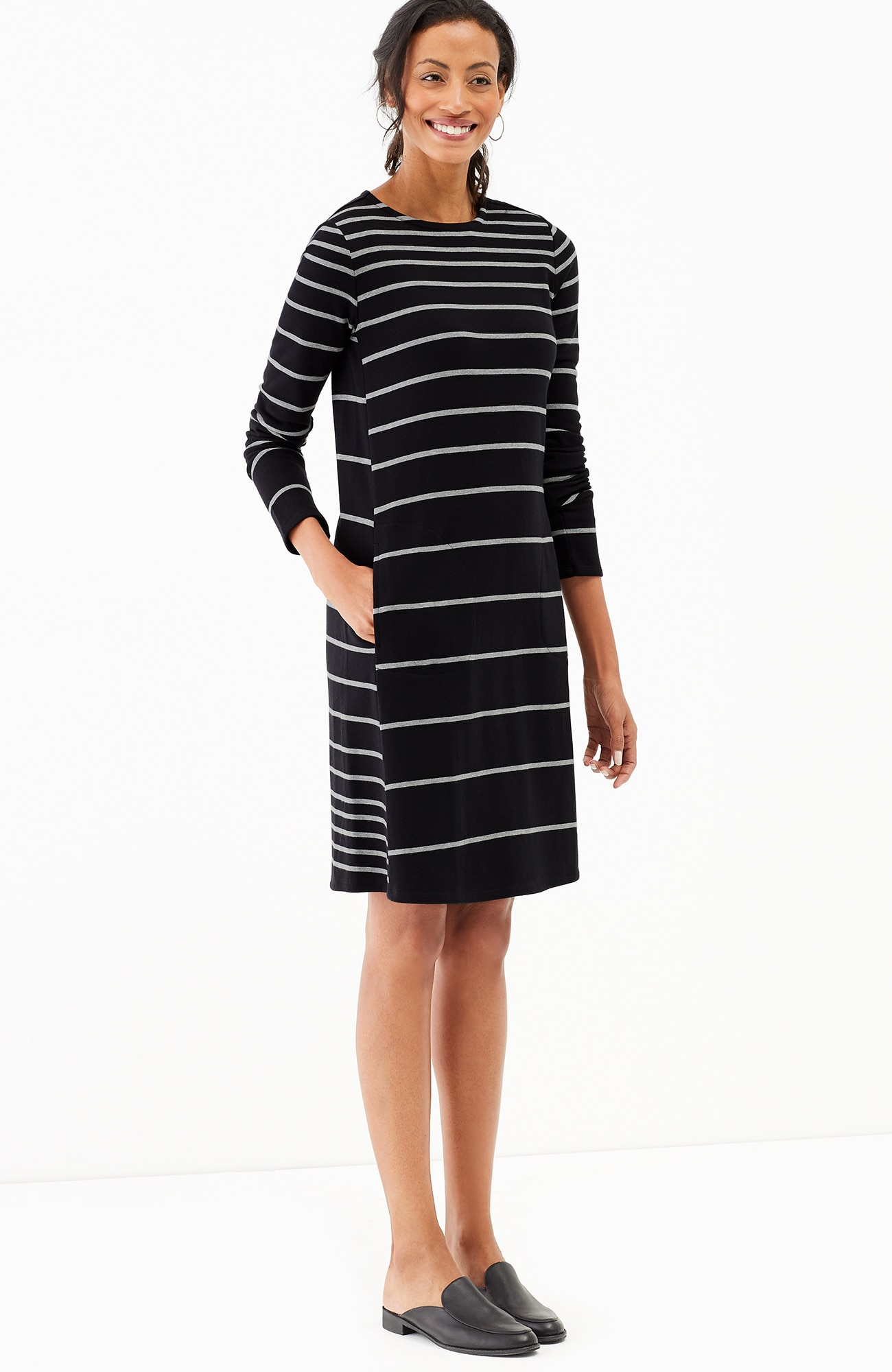 striped A-line knit dress