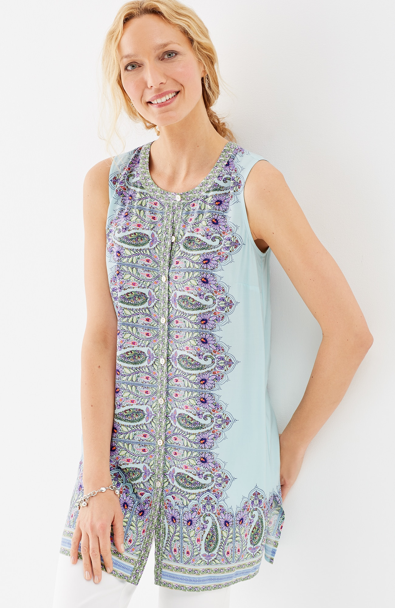 sleeveless button-front tunic