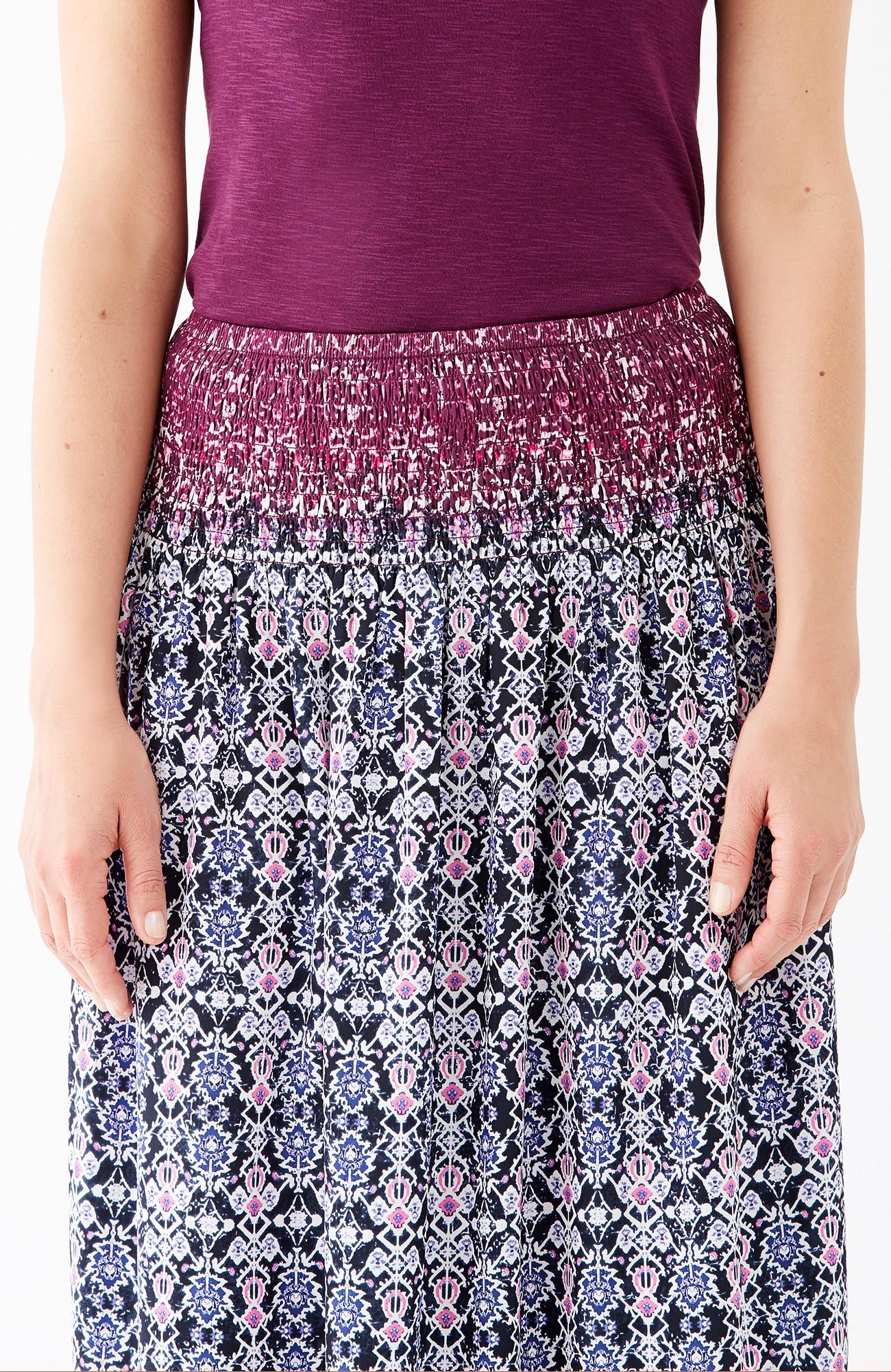 smocked-waist print skirt