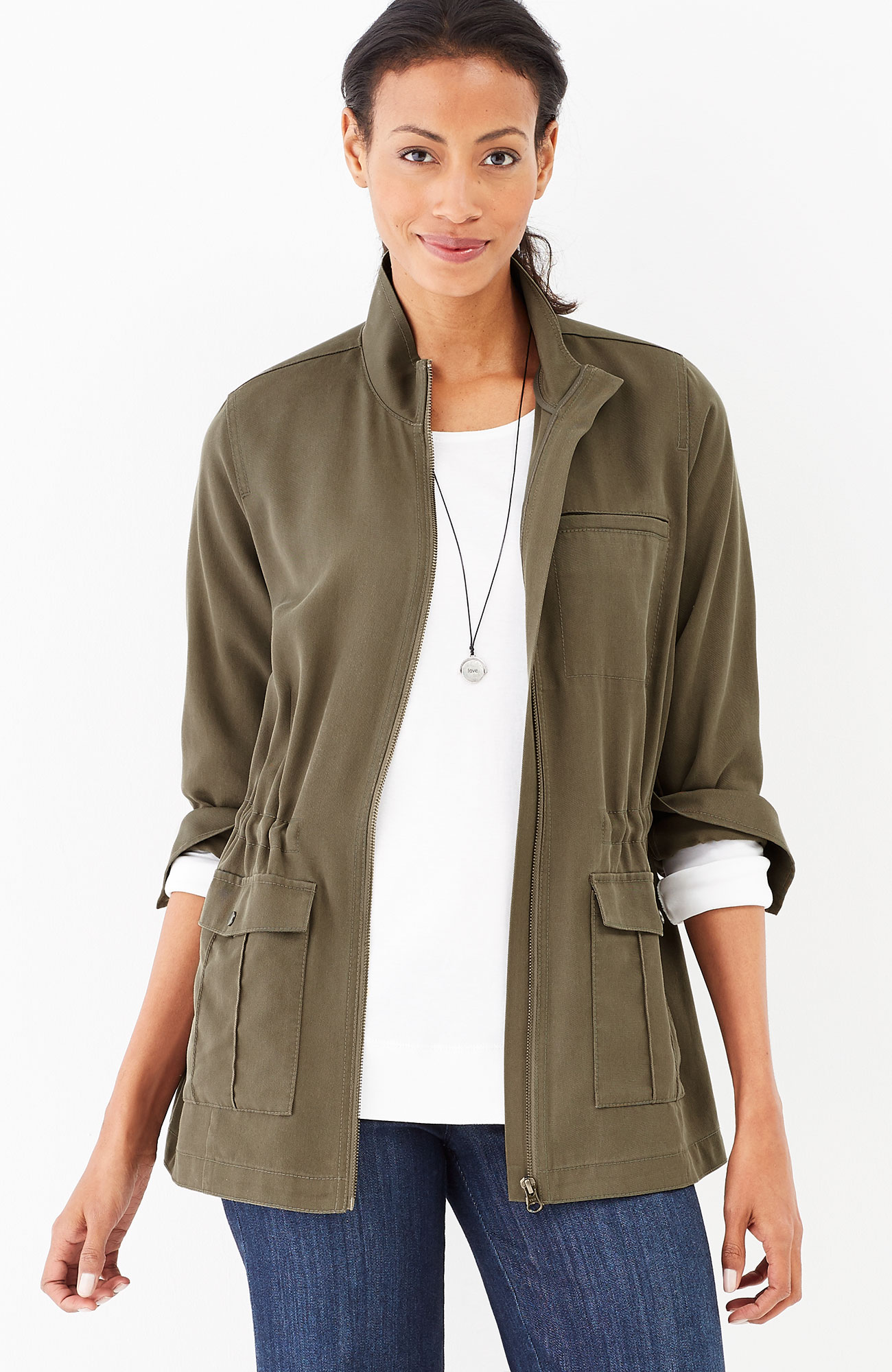 Tencel®-twill zip-front jacket