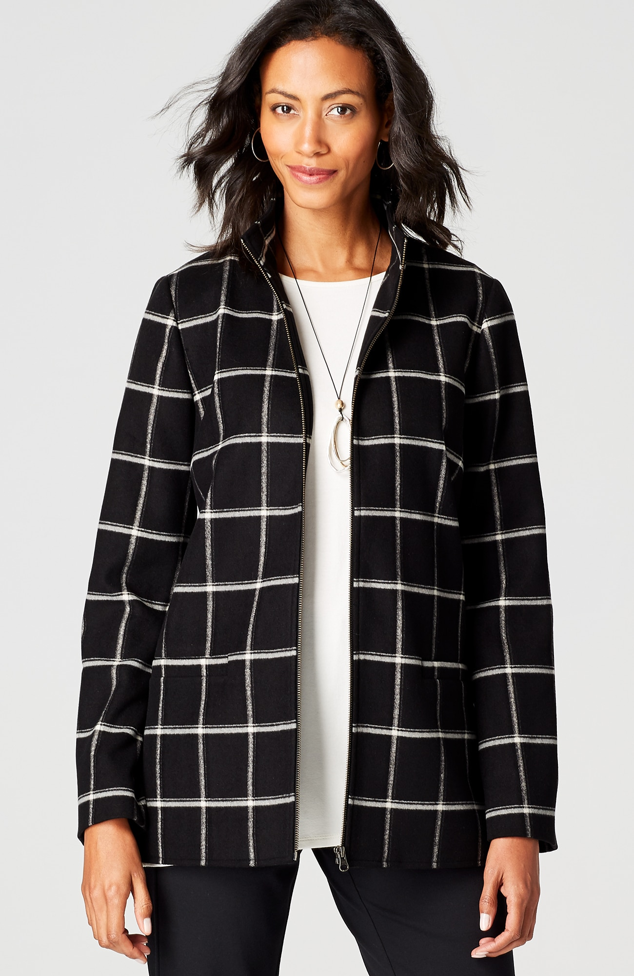 zip-front windowpane jacket