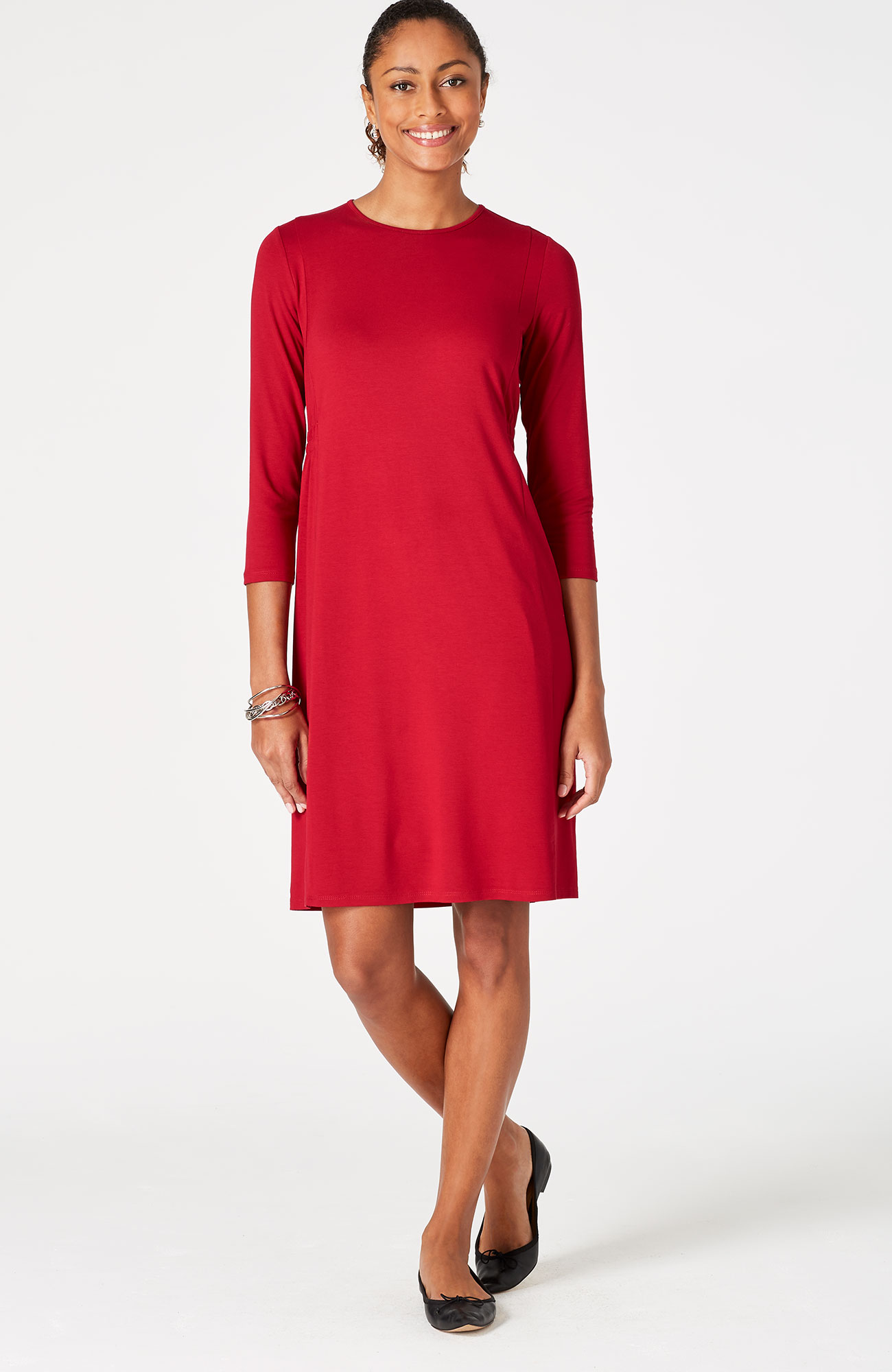 Wearever 3/4-sleeve crew-neck dress