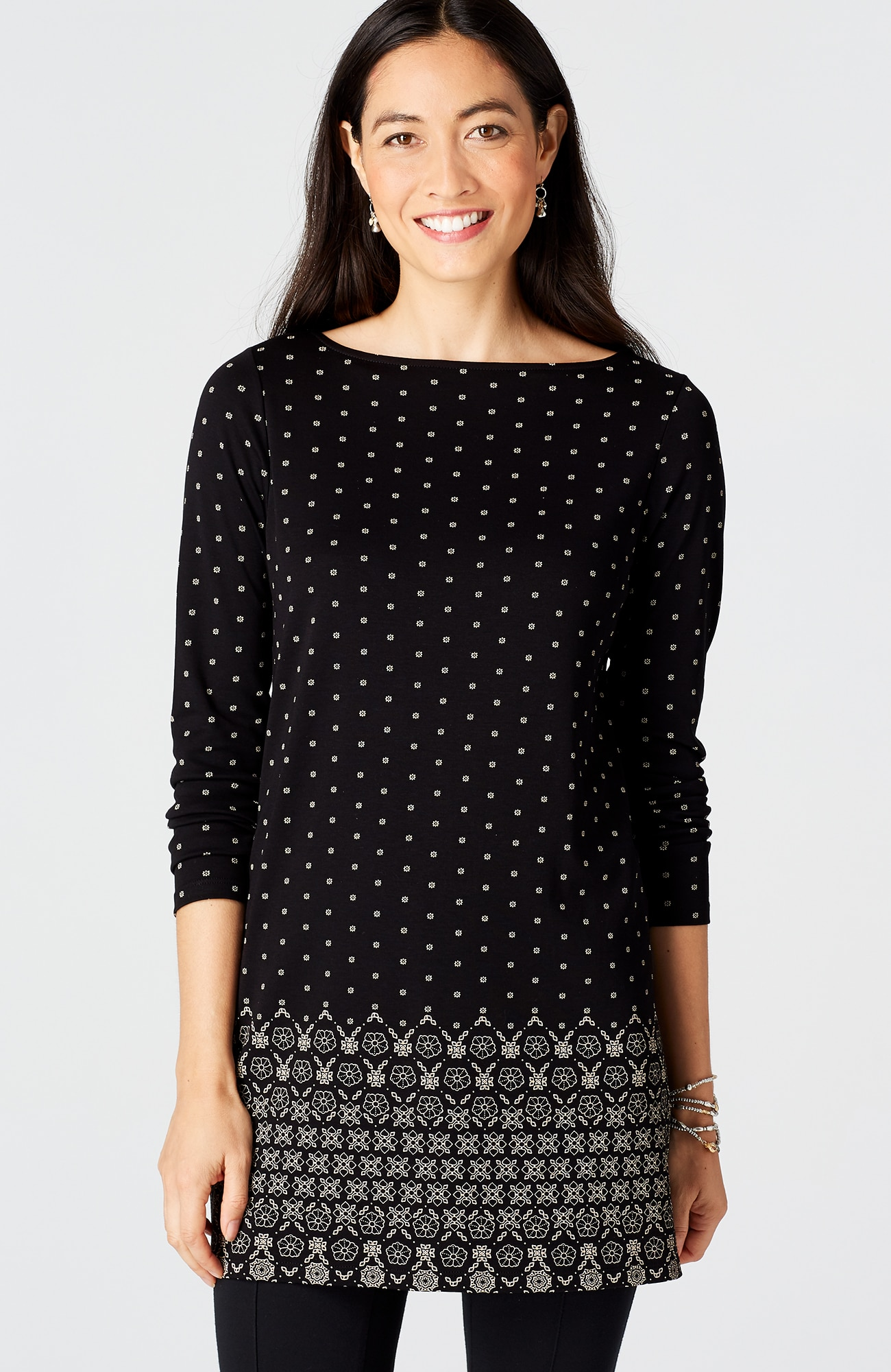 knit border-print boat-neck tunic