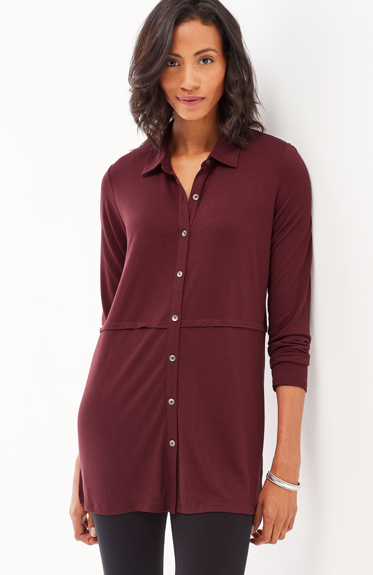 button-front knit tunic