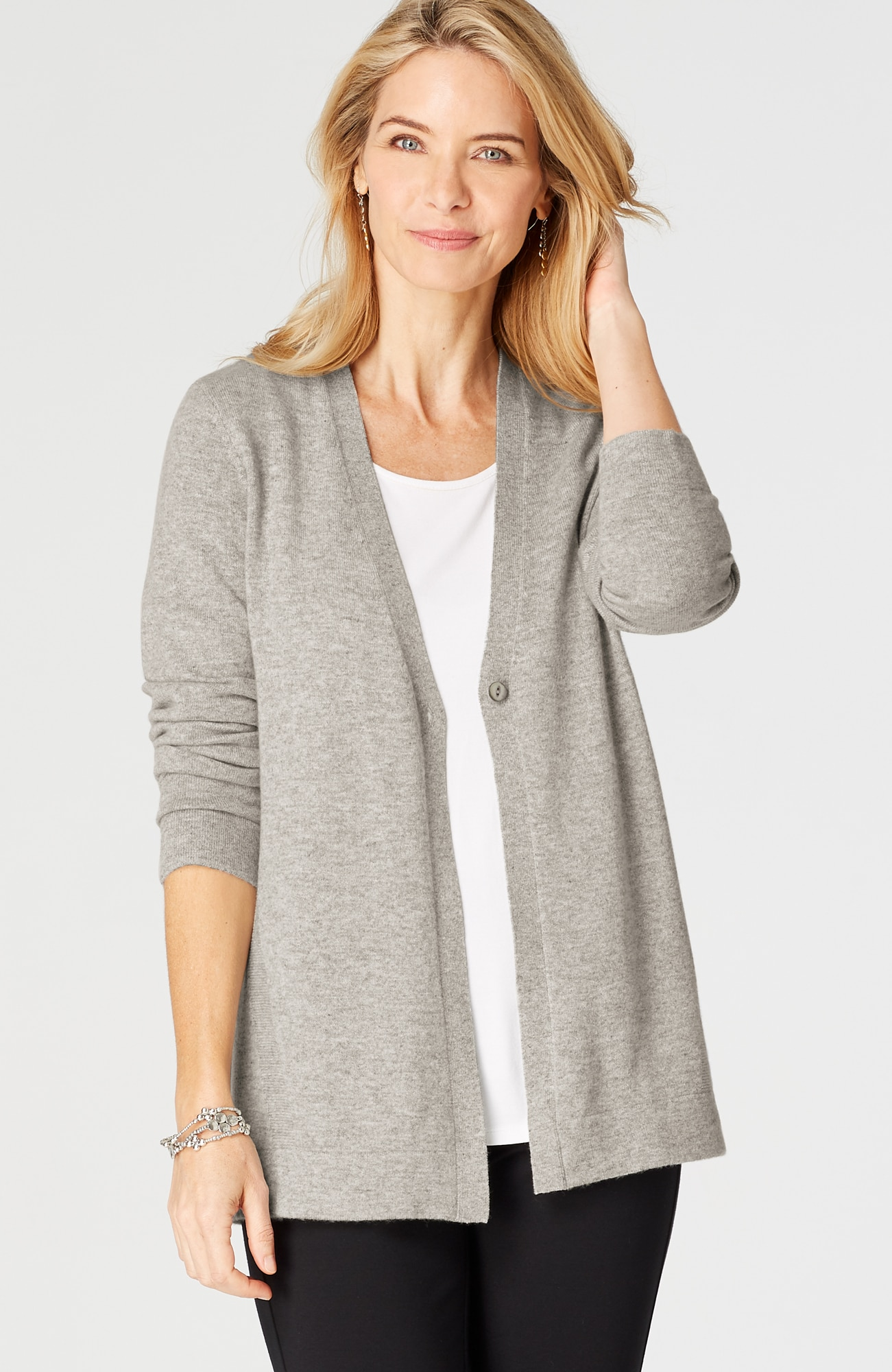 cashmere V-neck elliptical cardi