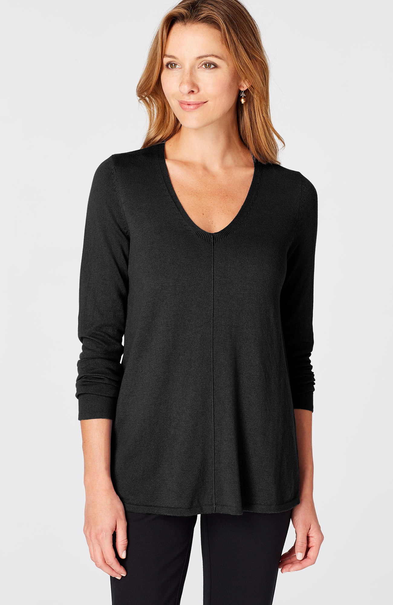 pleated-back V-neck pullover