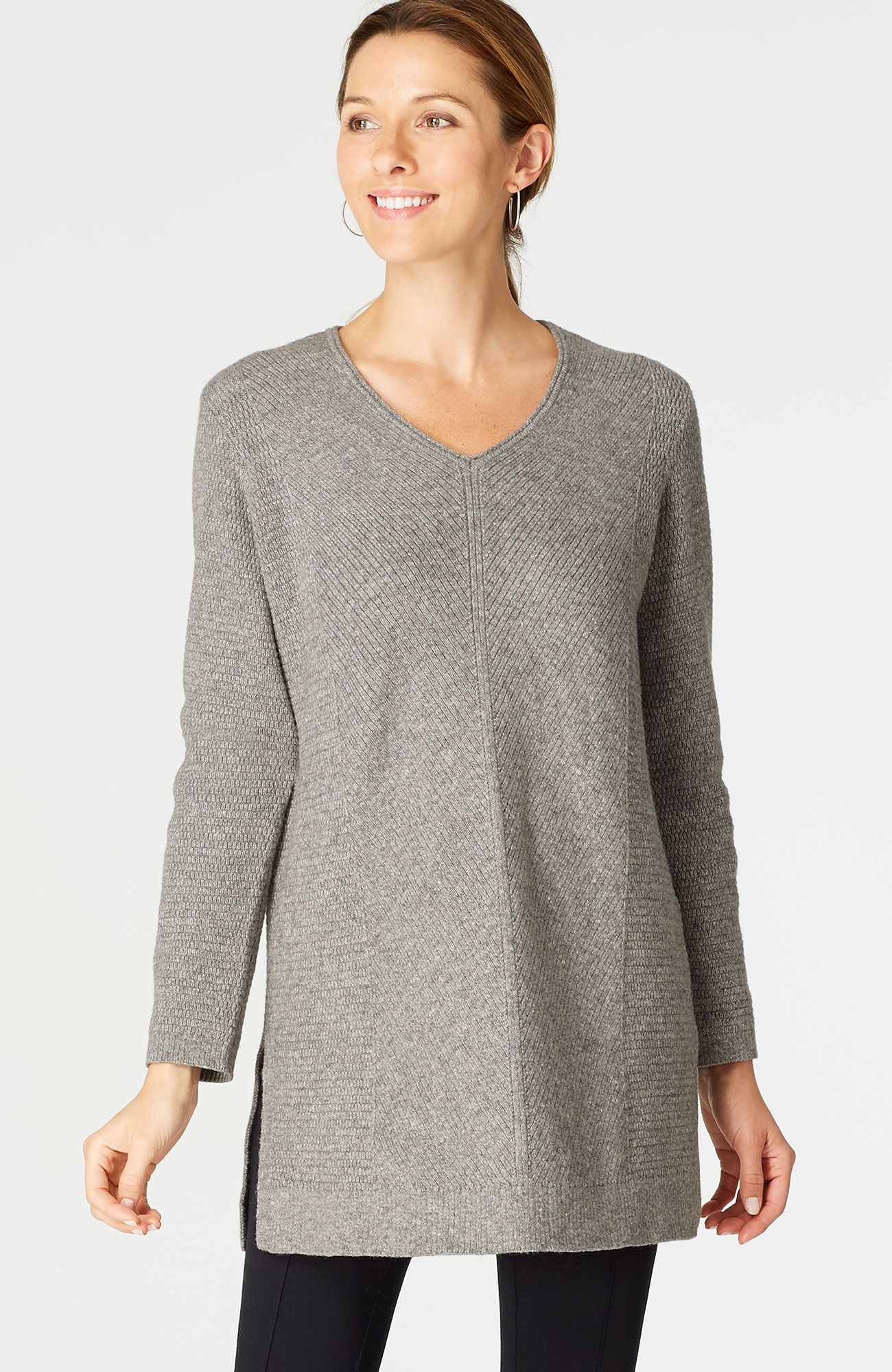 essential V-neck sweater tunic