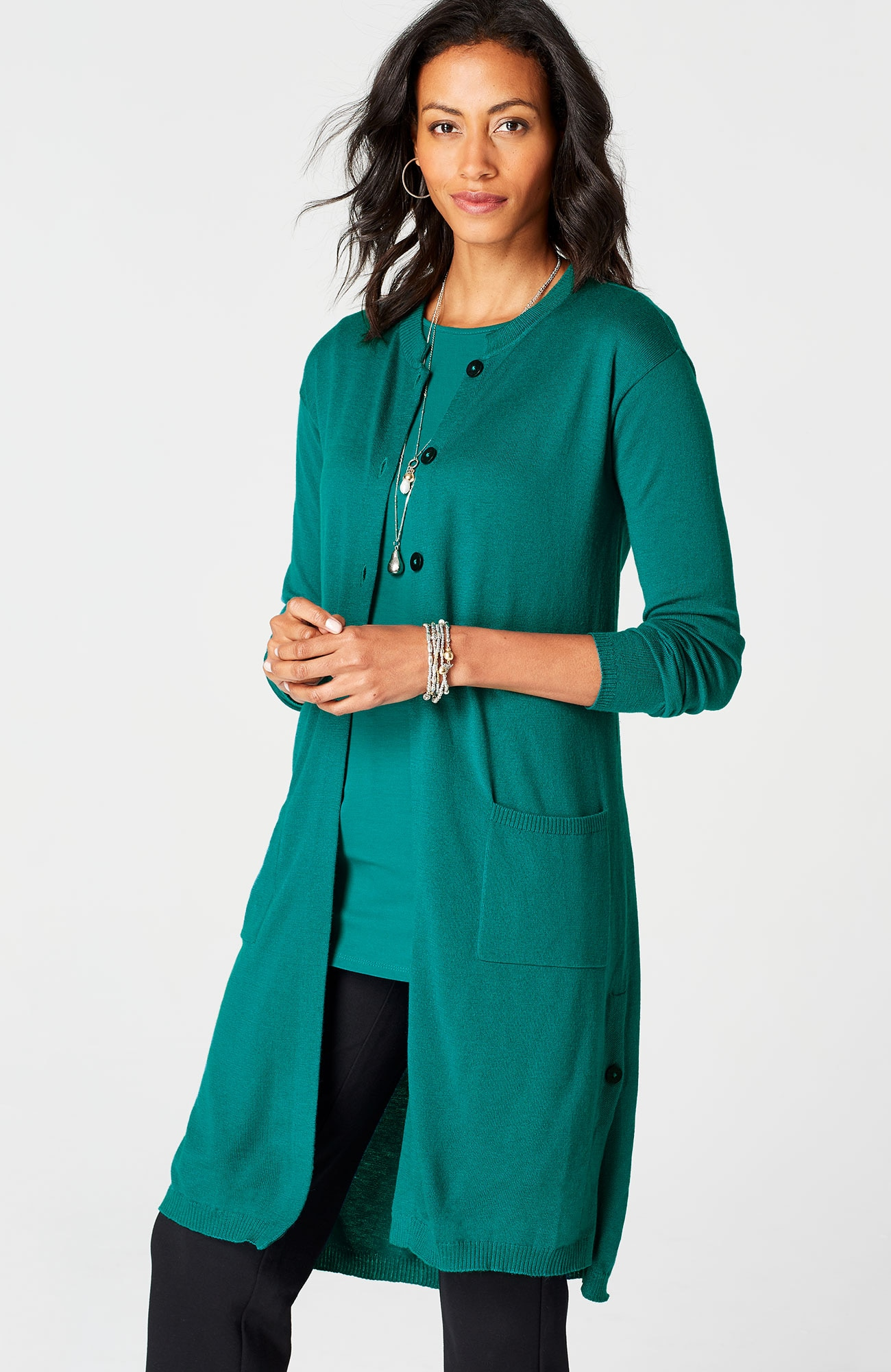 long side-button cardi