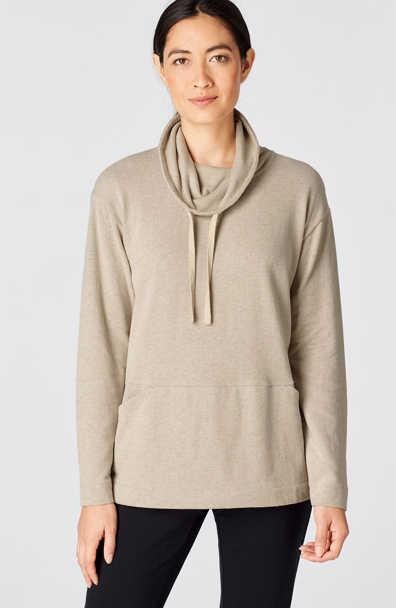 Pure Jill soft-touch cotton cowl-neck top