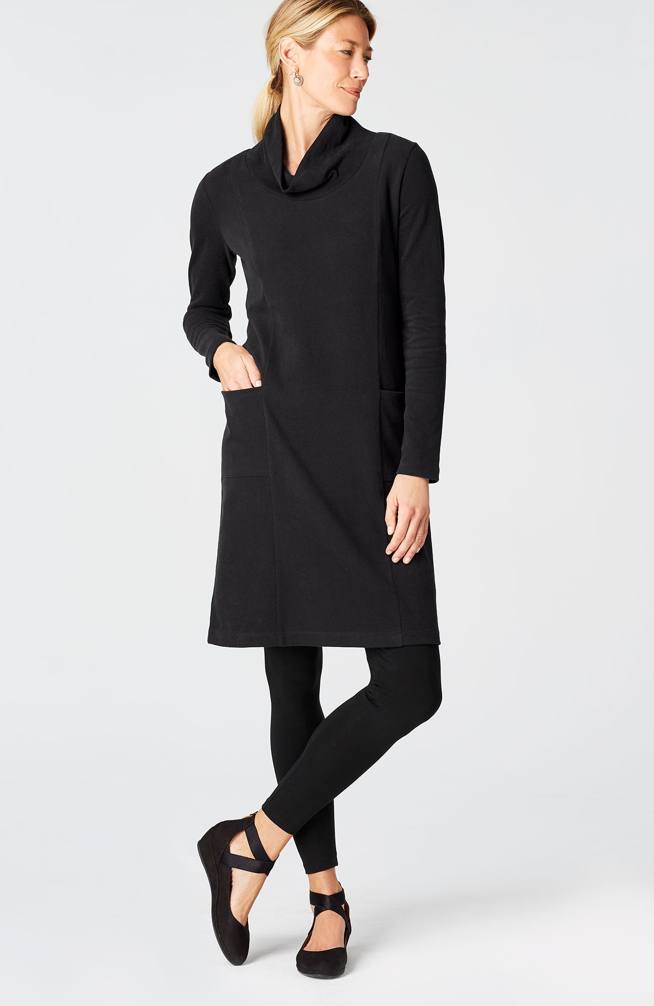 Pure Jill soft-touch cotton cowl-neck dress