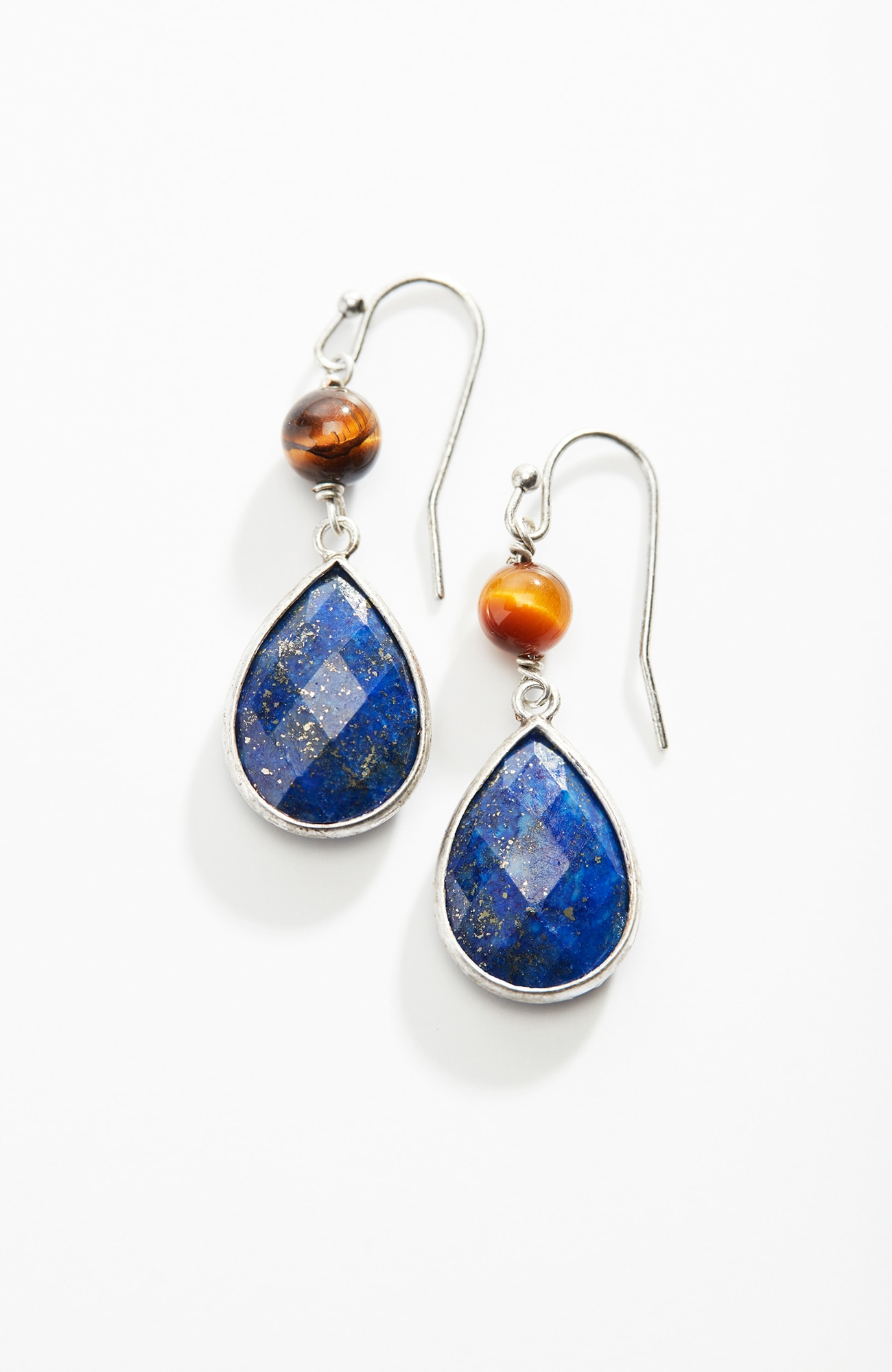 lapis & tiger's-eye drop earrings