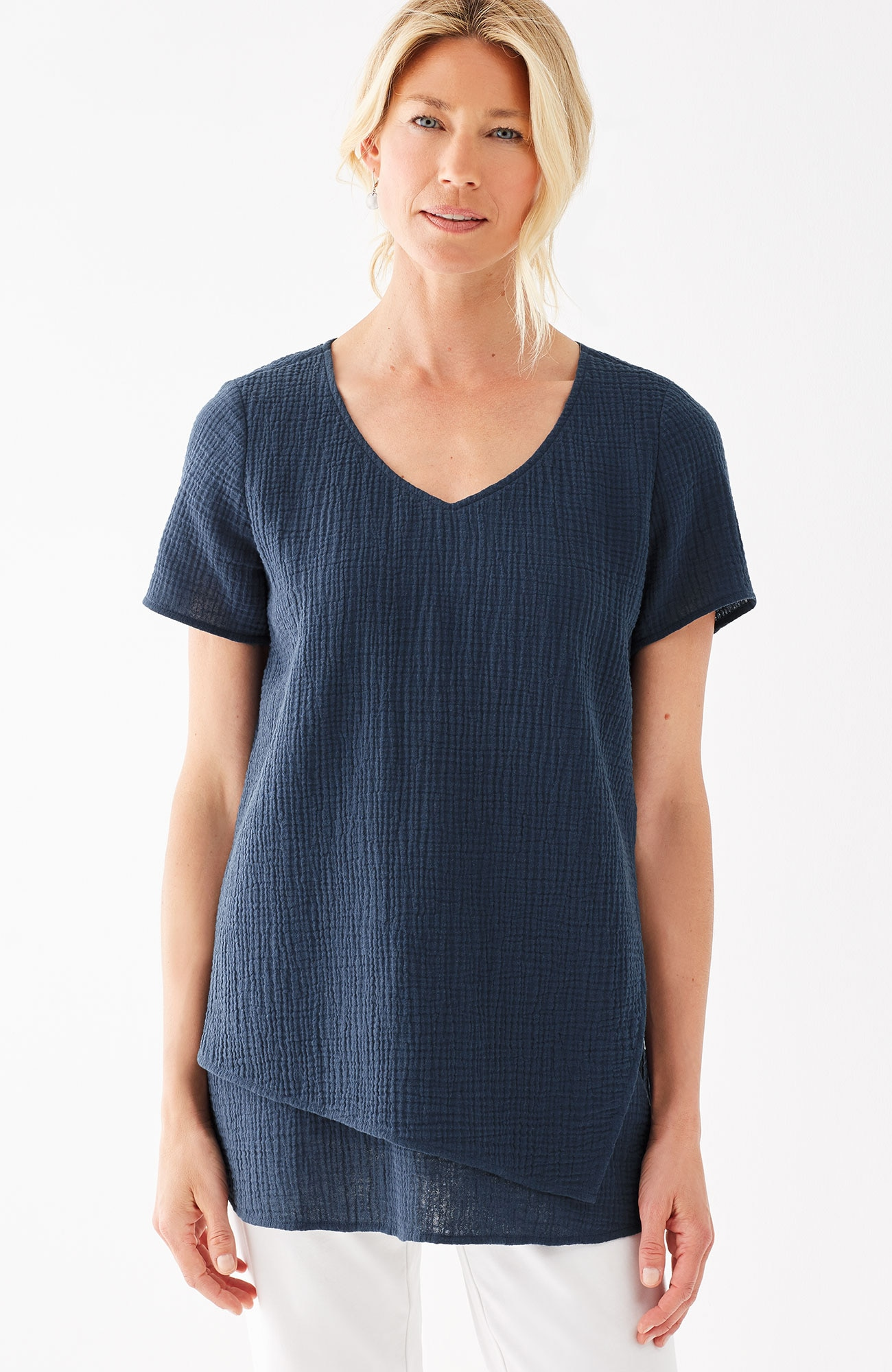 Pure Jill crinkled-cotton layered top