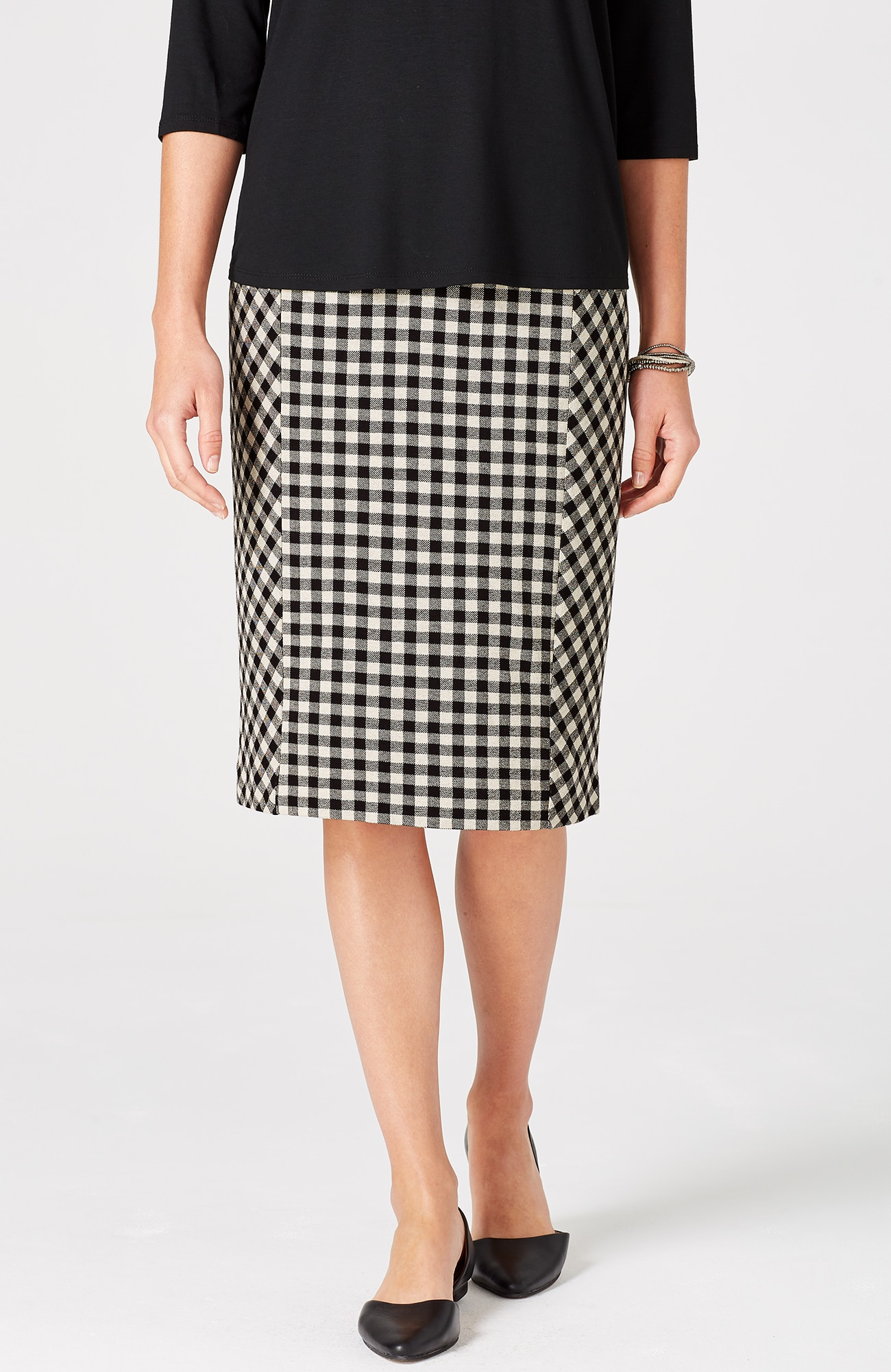 ponte knit gingham seamed pencil skirt