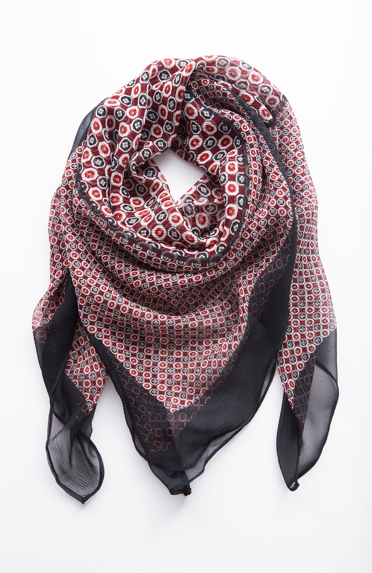 silk mixed-print square scarf