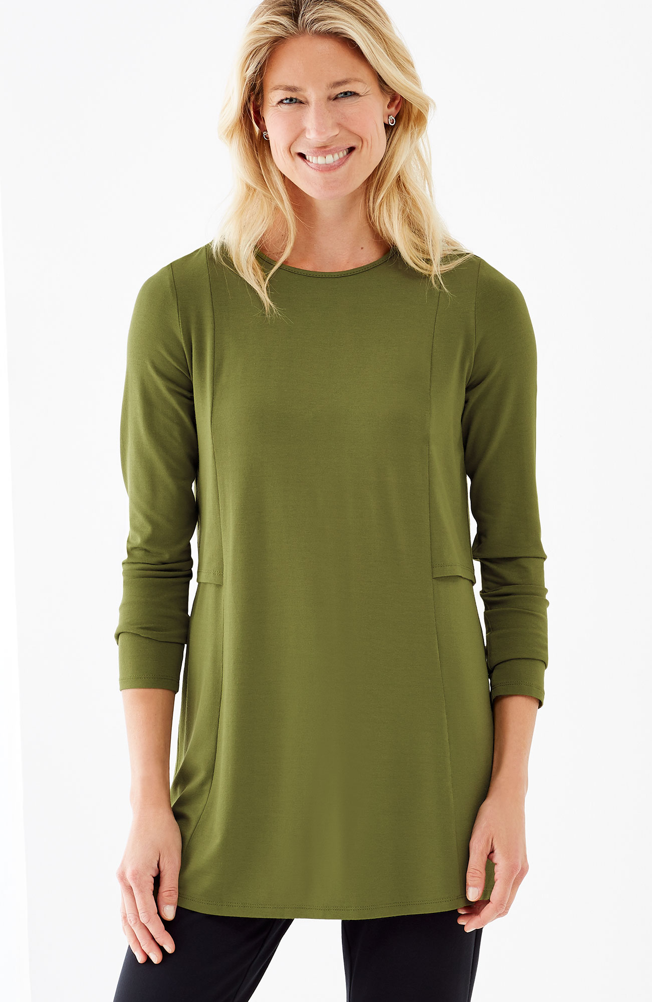 Wearever seamed layered-back tunic