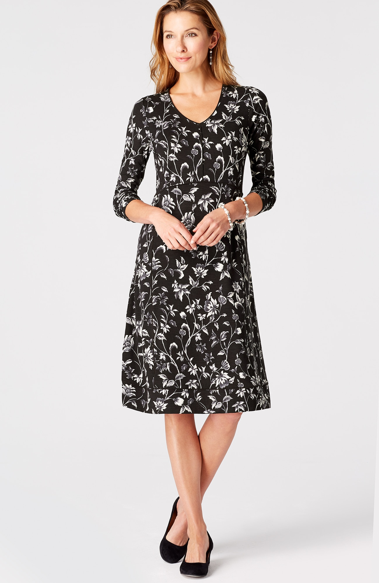 floral knit multiseam dress