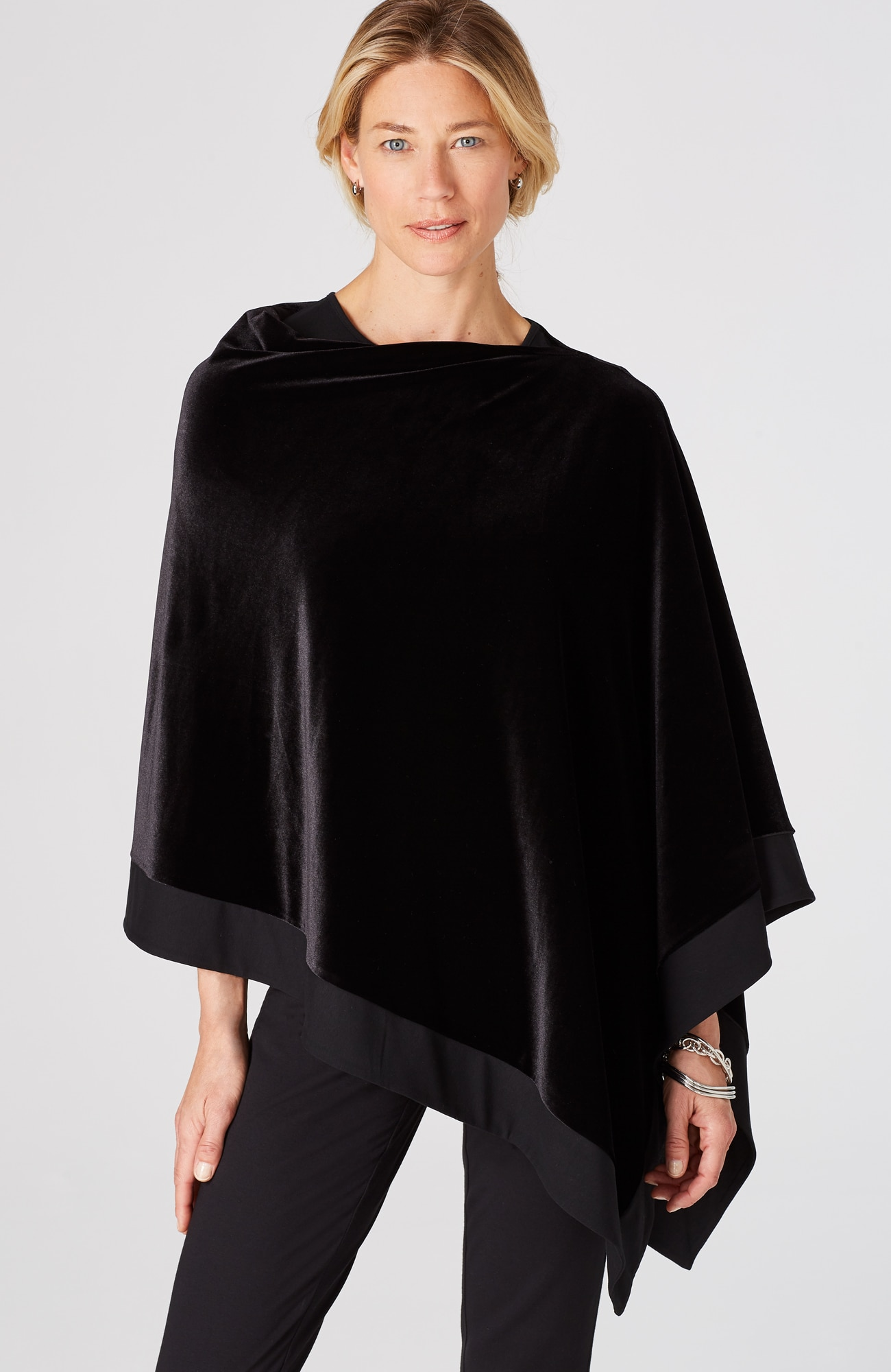 Wearever knit-border velvet poncho