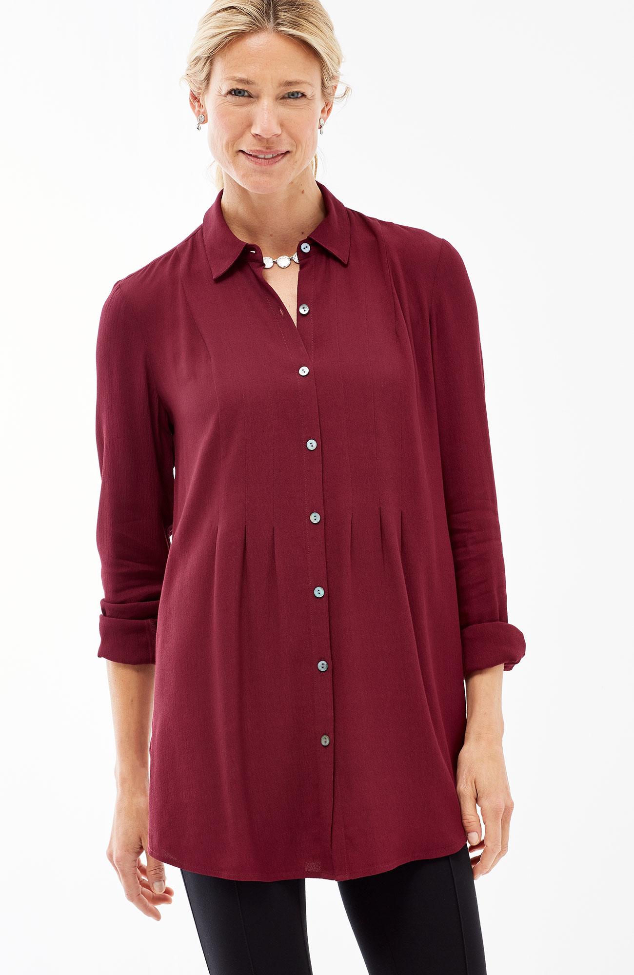 pleated button-front tunic