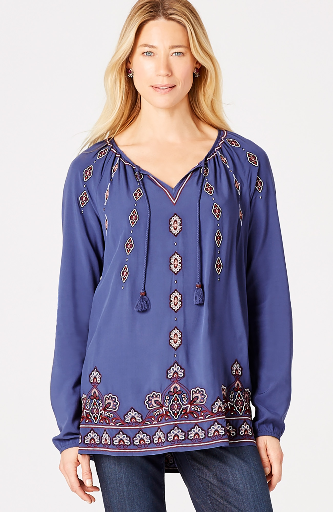 embroidered rayon top