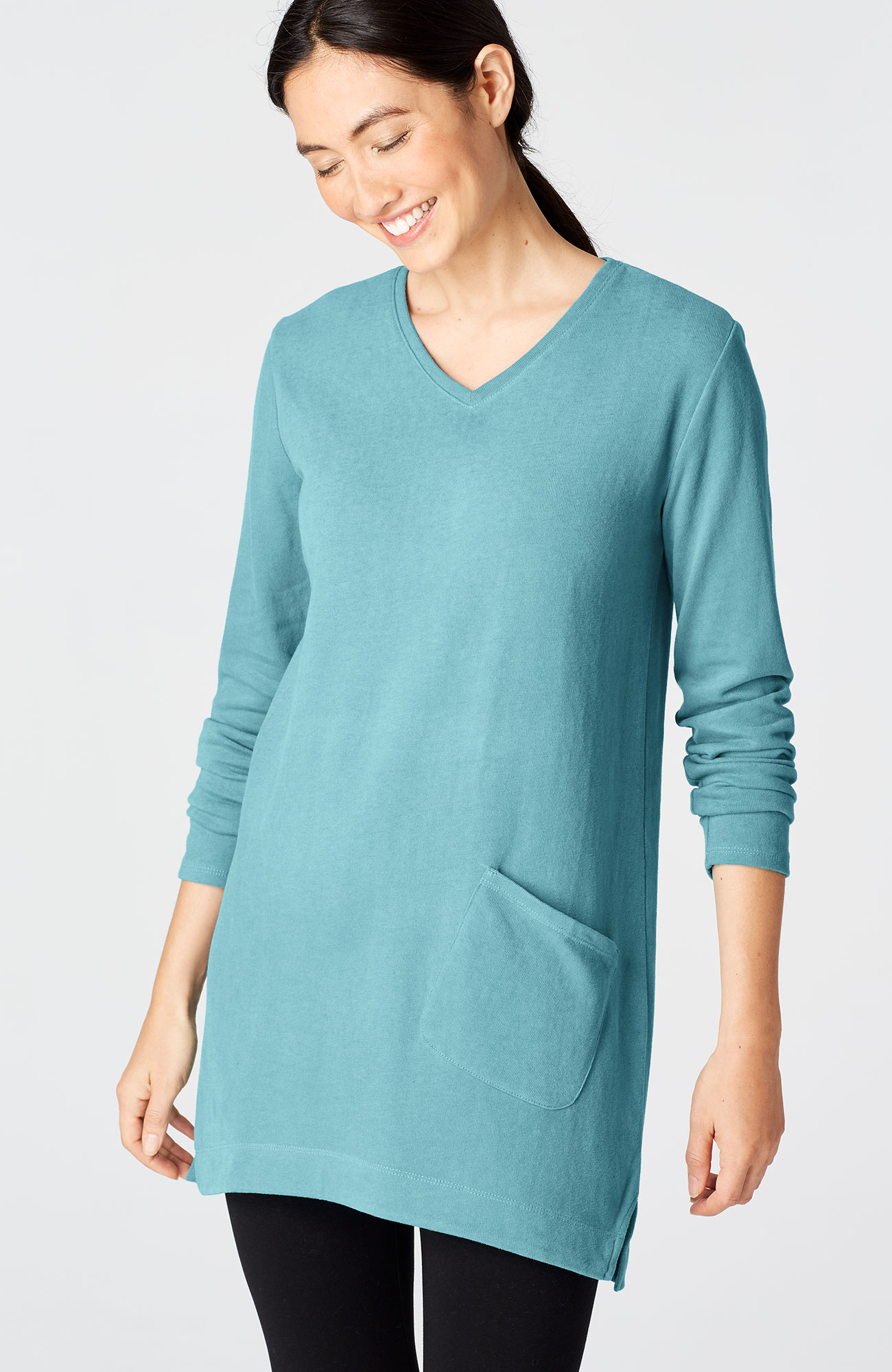 Pure Jill soft-touch cotton V-neck tunic