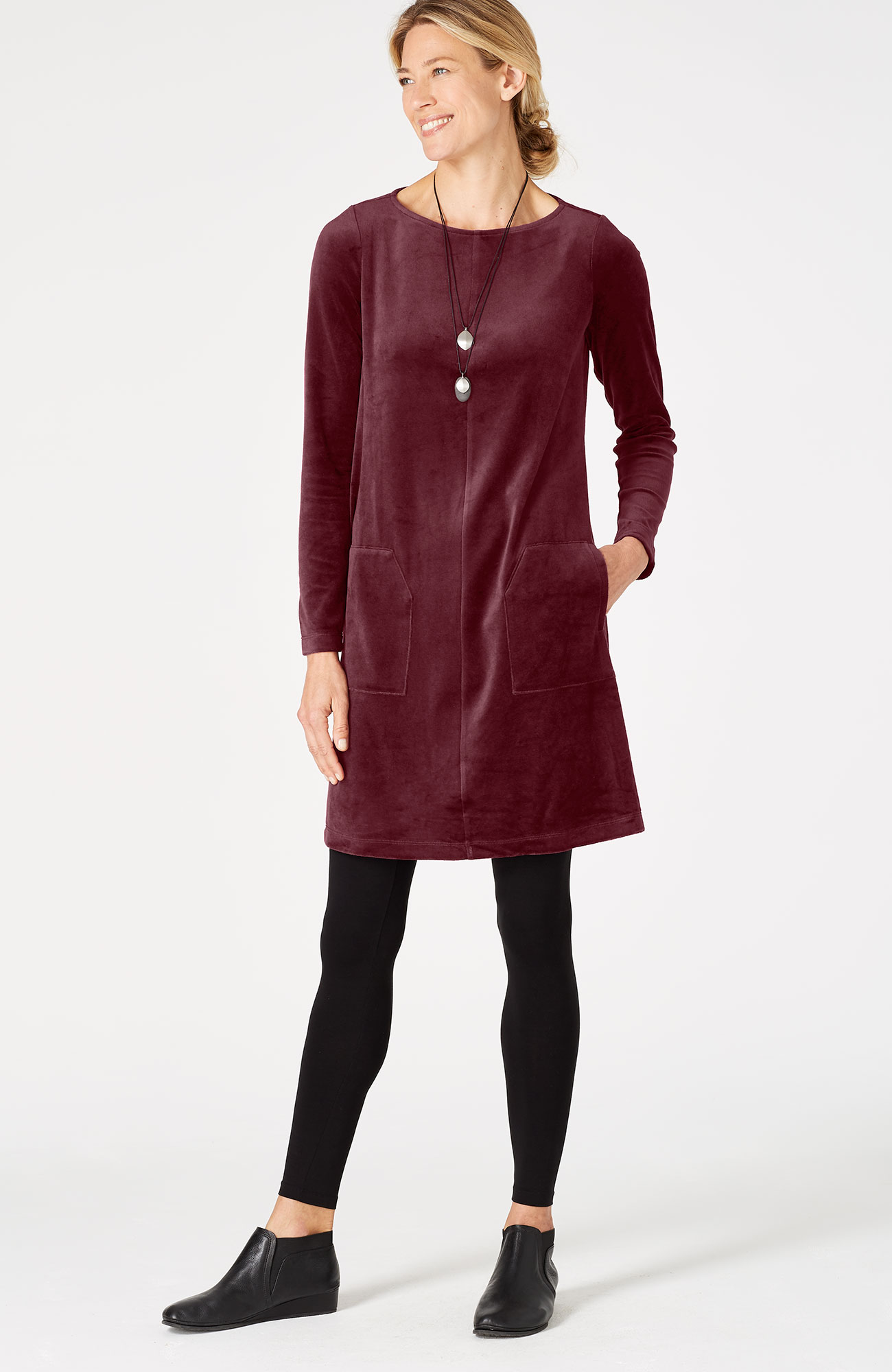 Pure Jill refined velour A-line dress