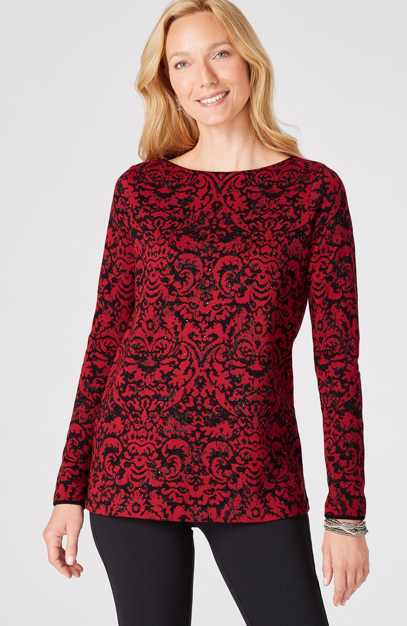 shimmering jacquard pullover