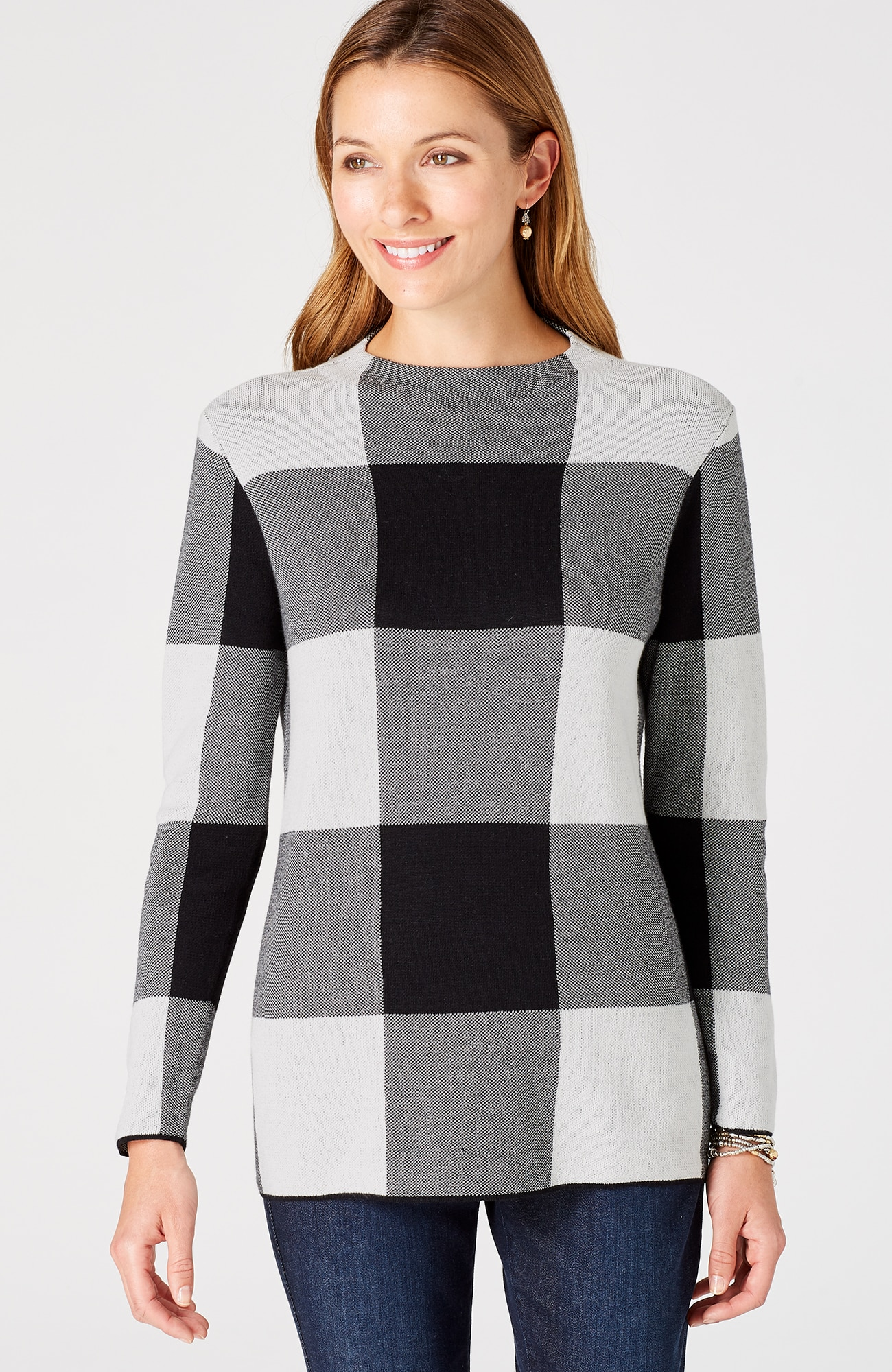 plaid mock-neck pullover