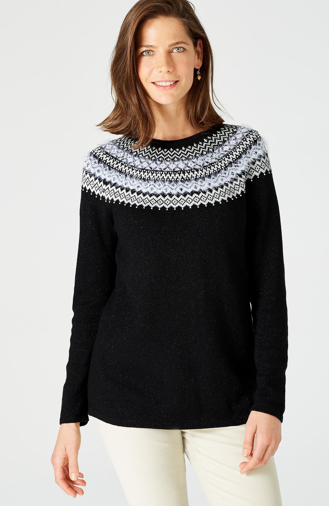 shimmering Fair Isle pullover