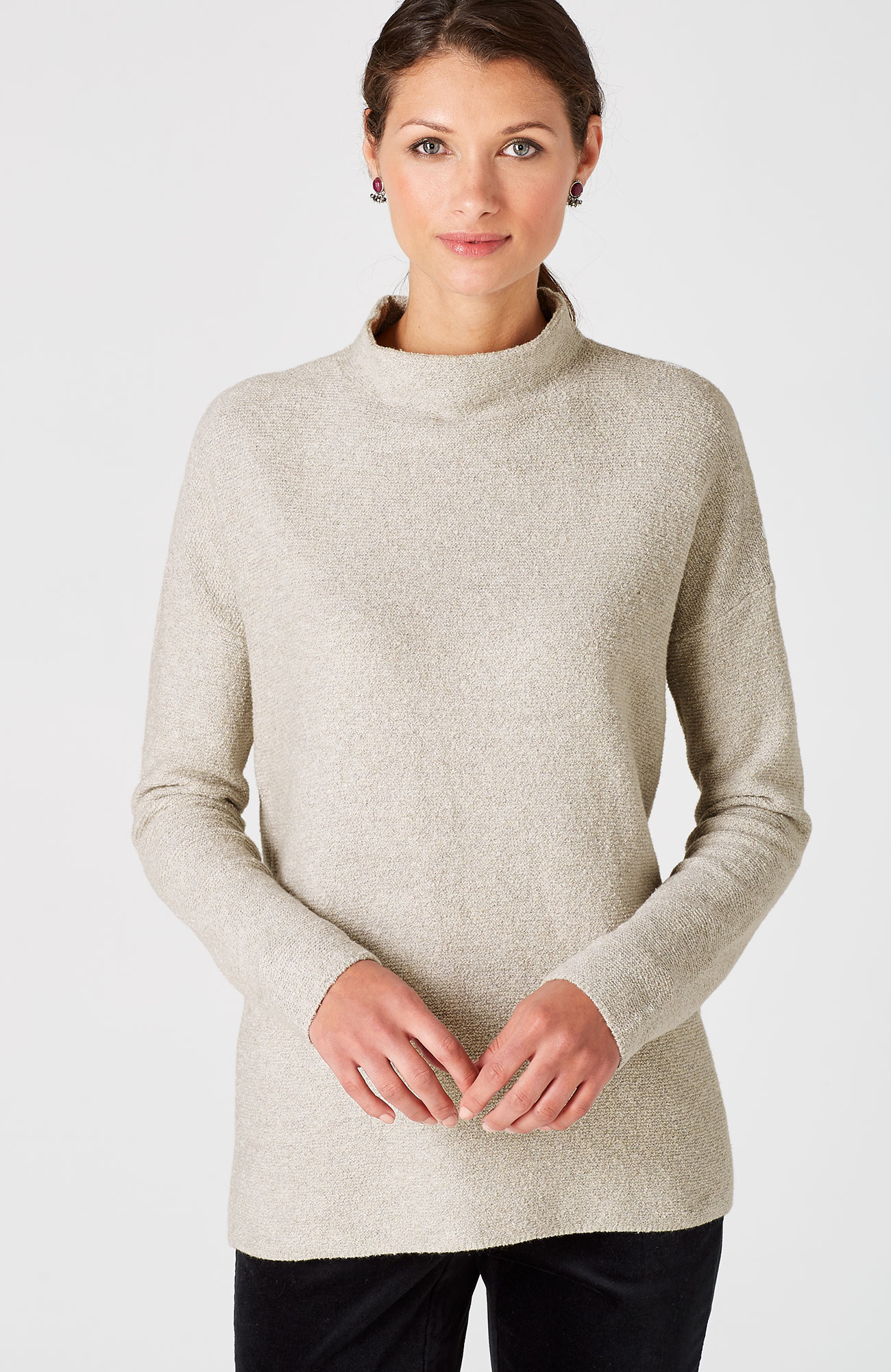 relaxed mock-neck pullover