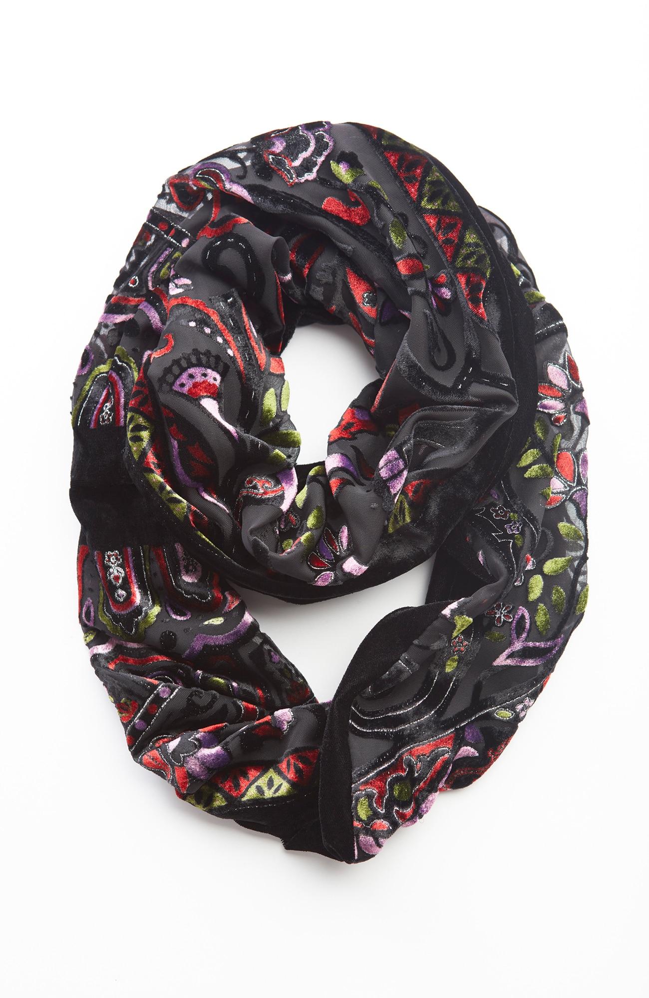 shimmering velvet burnout infinity scarf