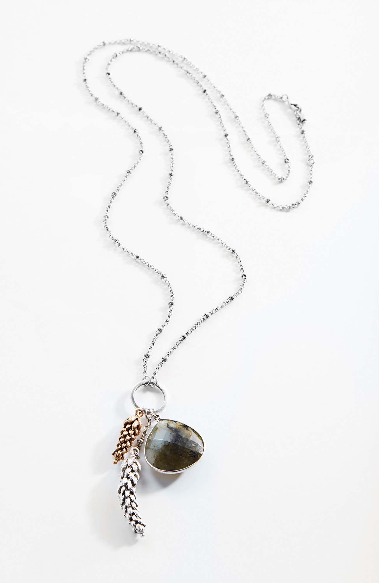 delicate wheat and labradorite pendant necklace