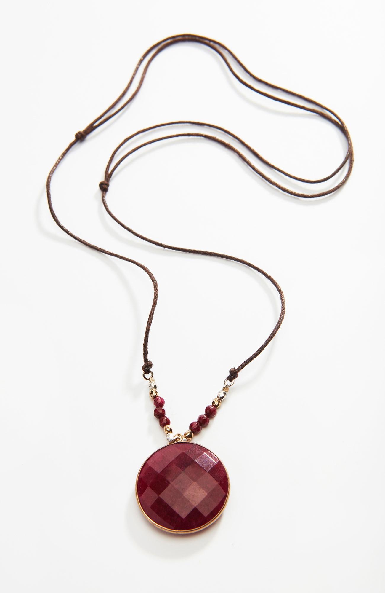 scarlet sky round pendant necklace