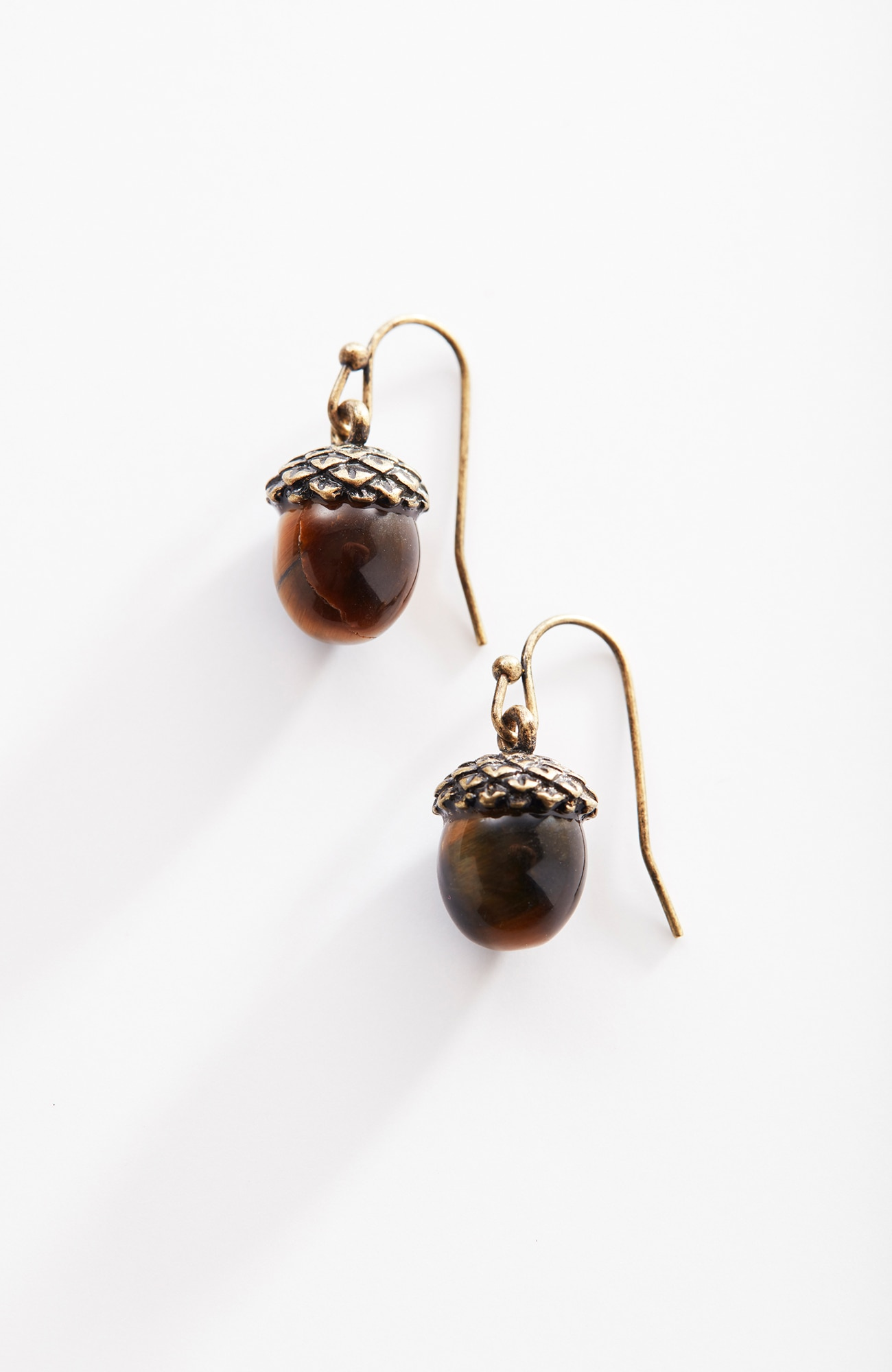 tiger's-eye acorn earrings
