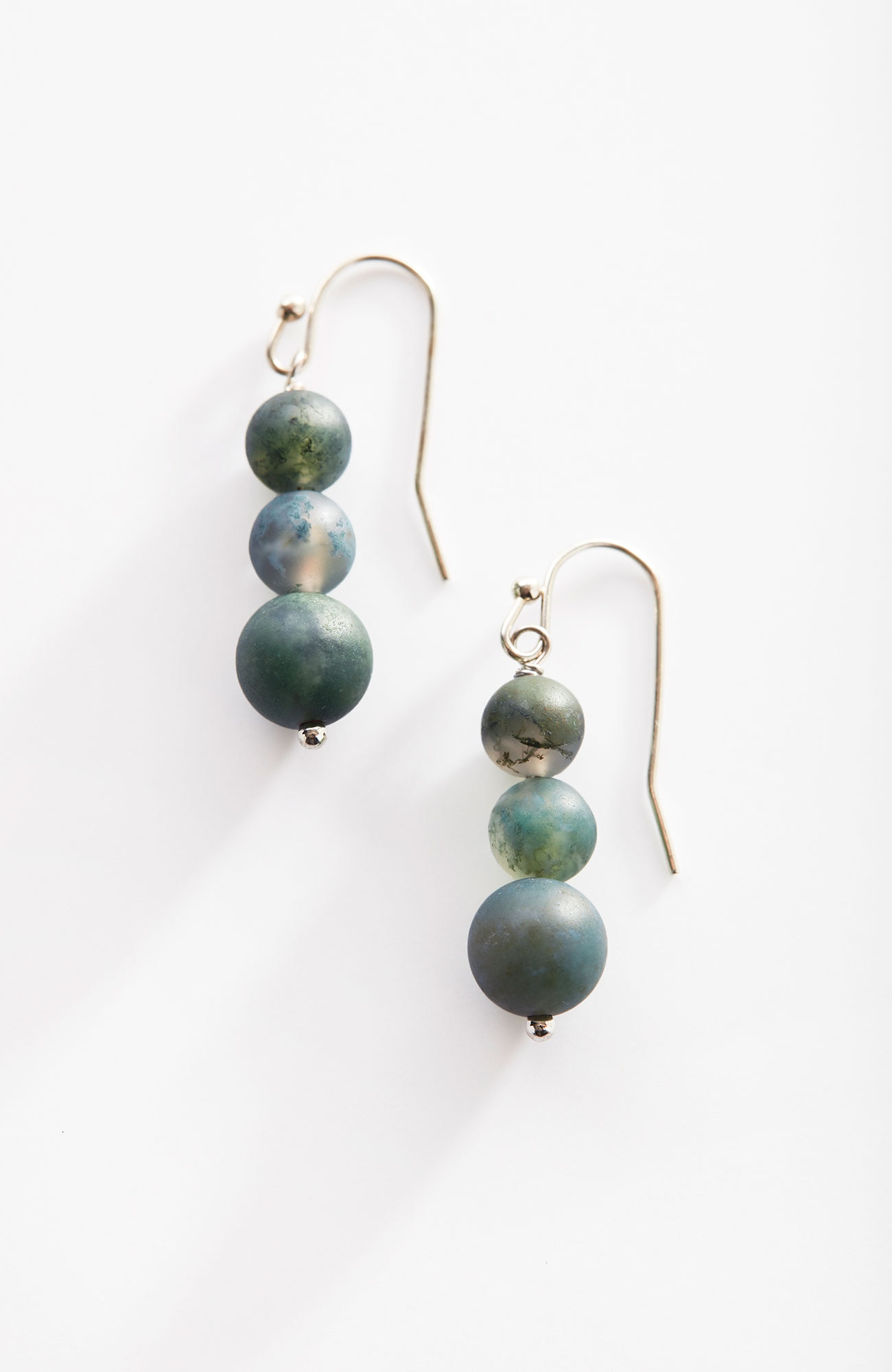 Pure Jill moss agate beaded drop earrings