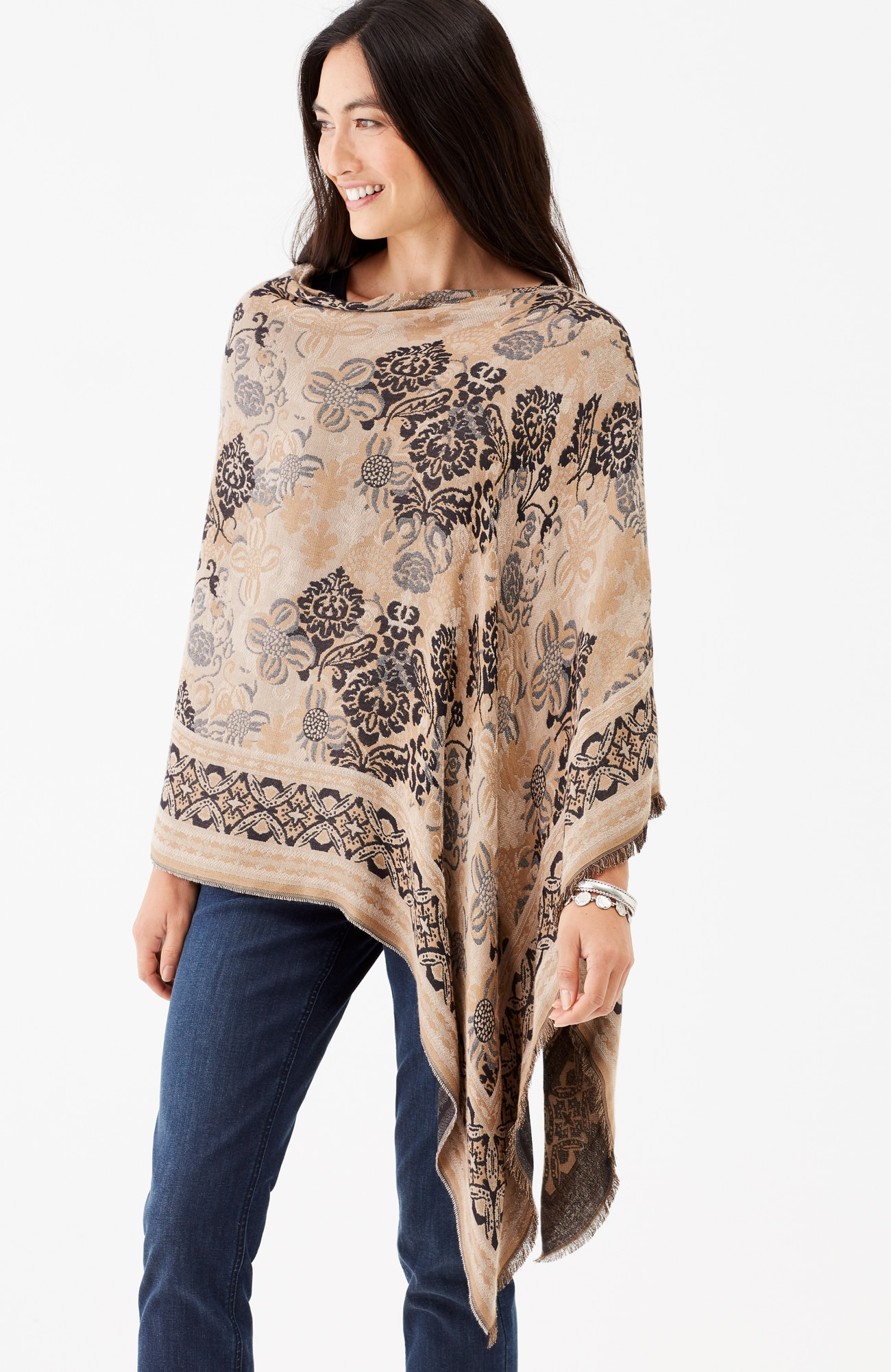 floral jacquard scarf poncho