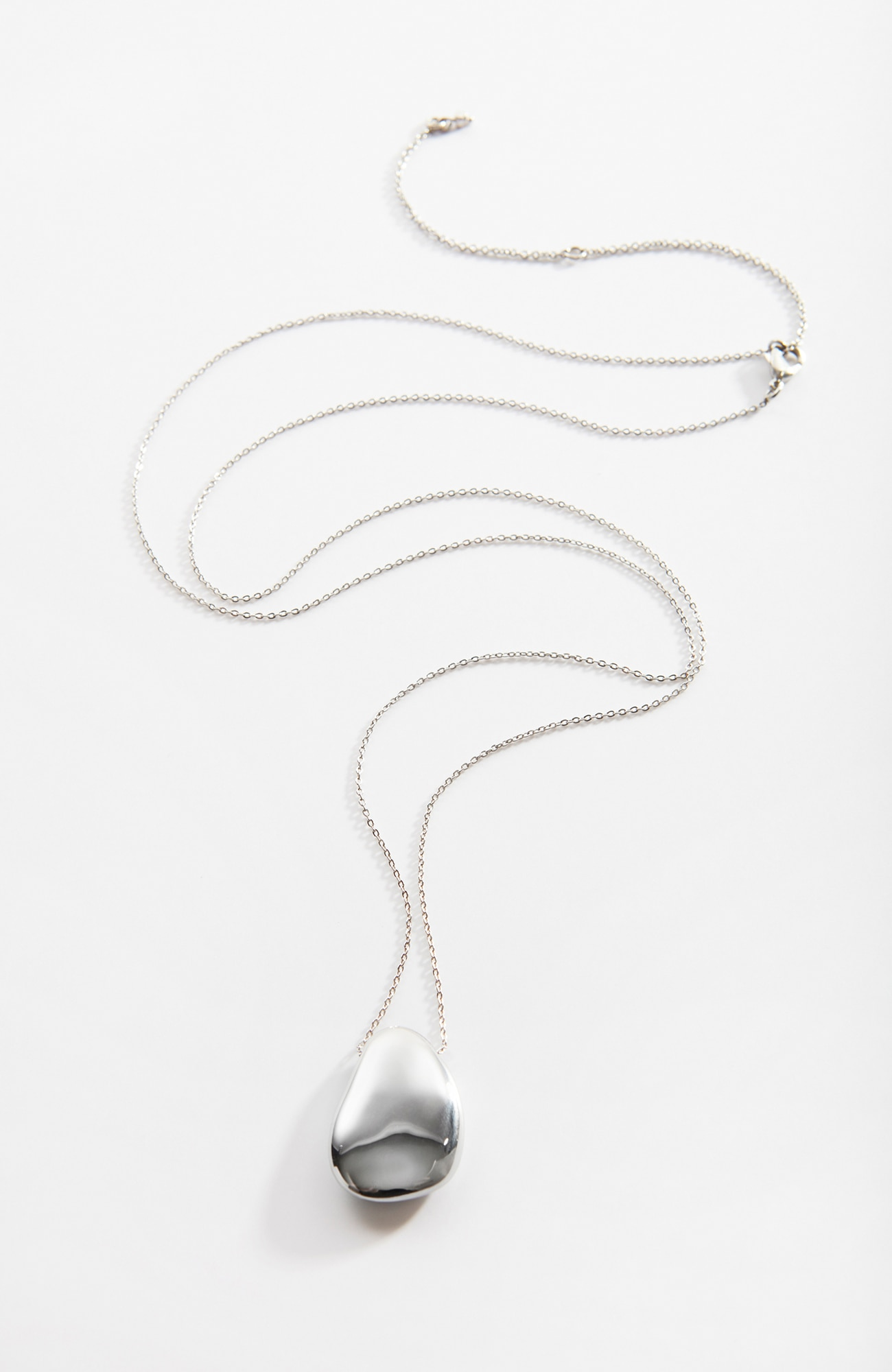 sculpted-metal pebble necklace