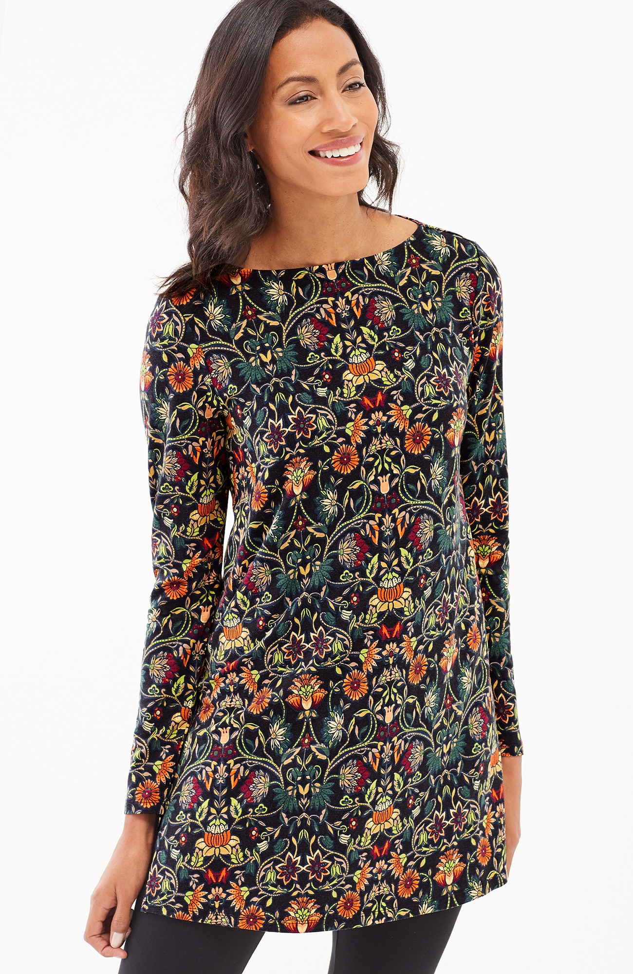 radiant flowers knit tunic