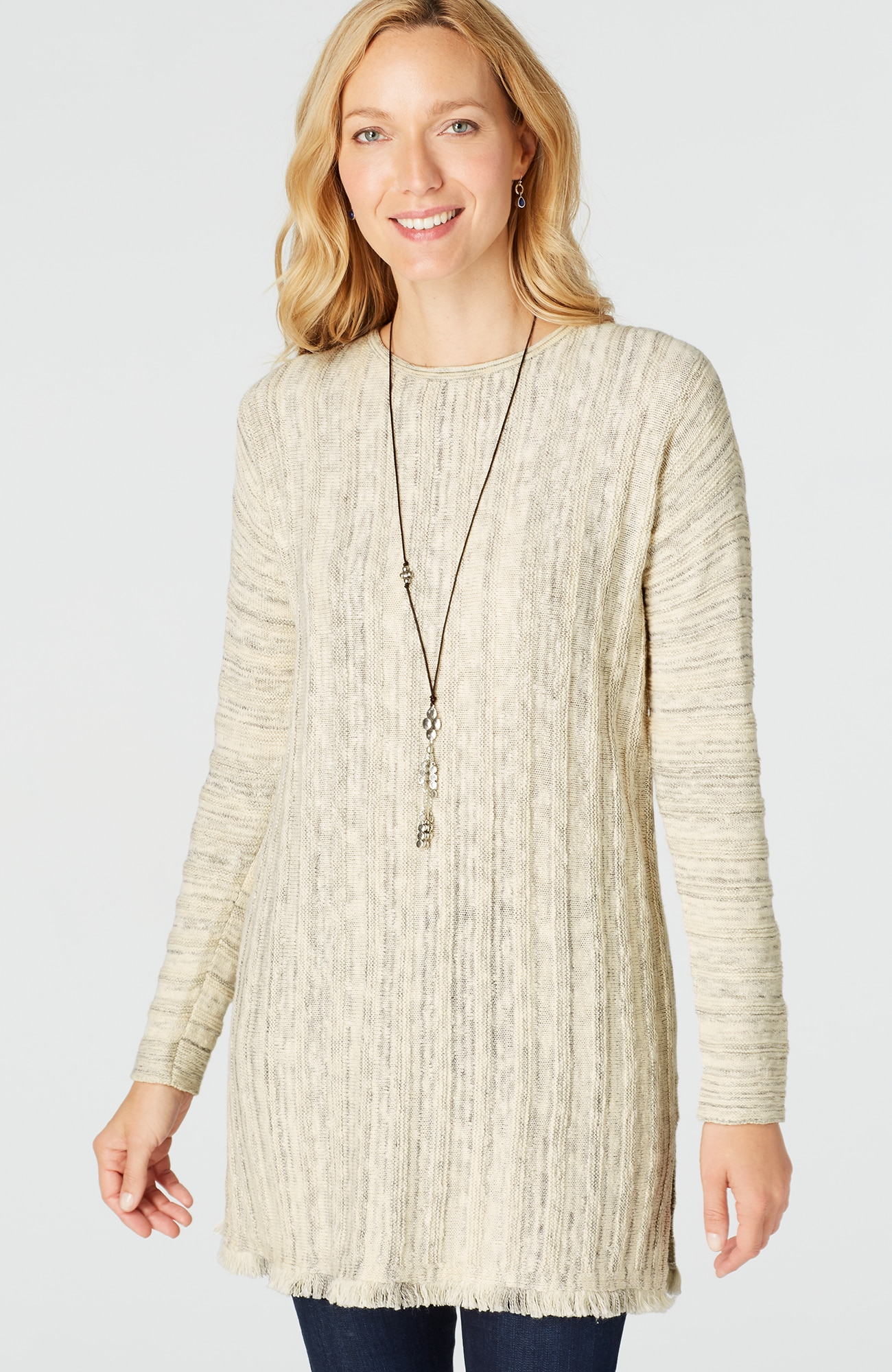 fringe-trimmed sweater tunic