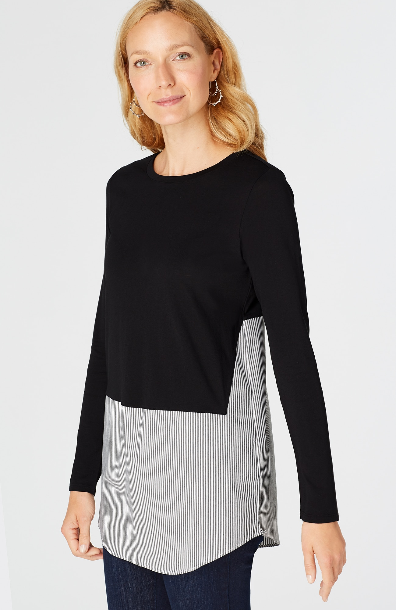 mixed-media crew-neck tunic