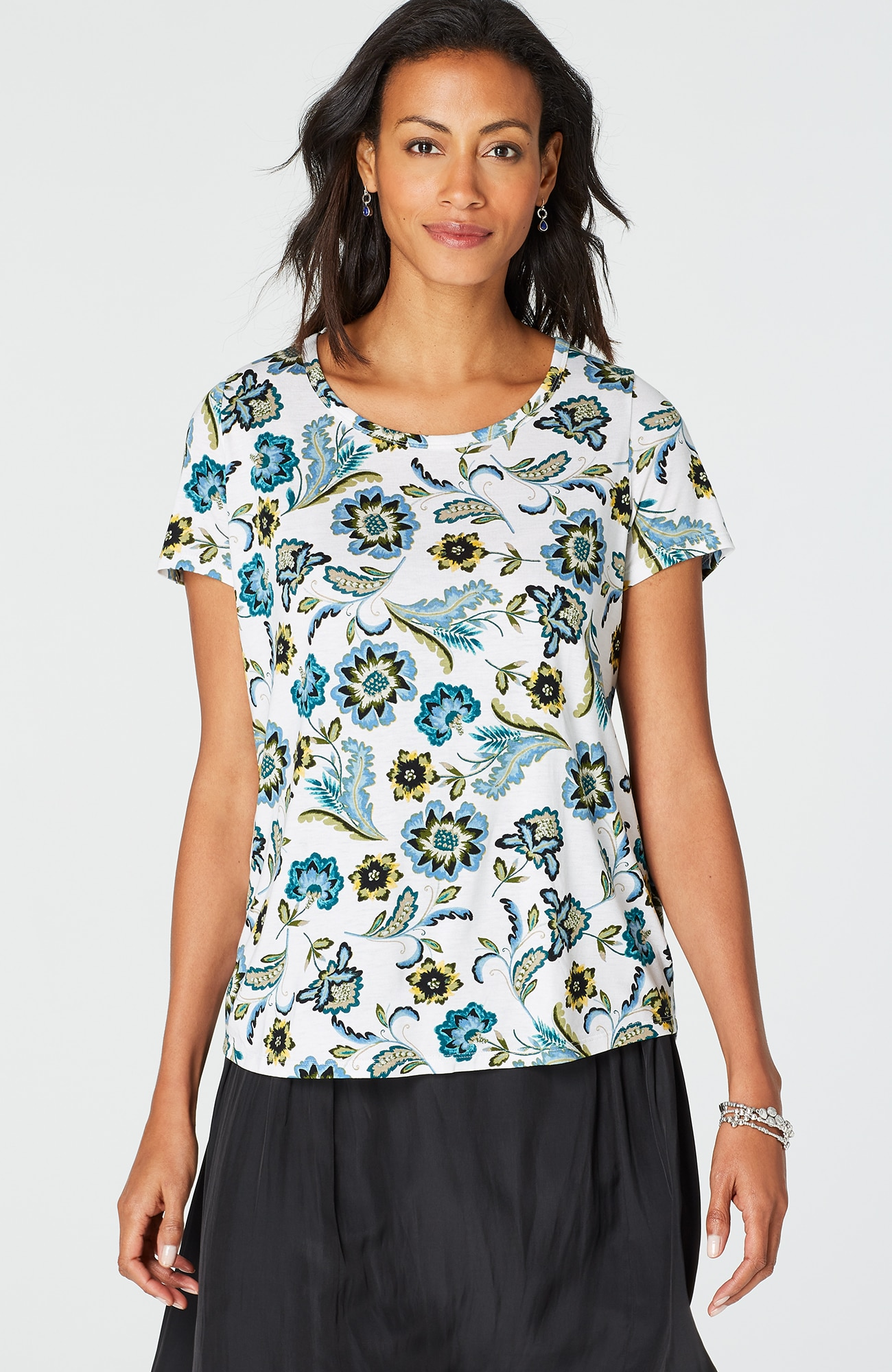 printed shirred-back top